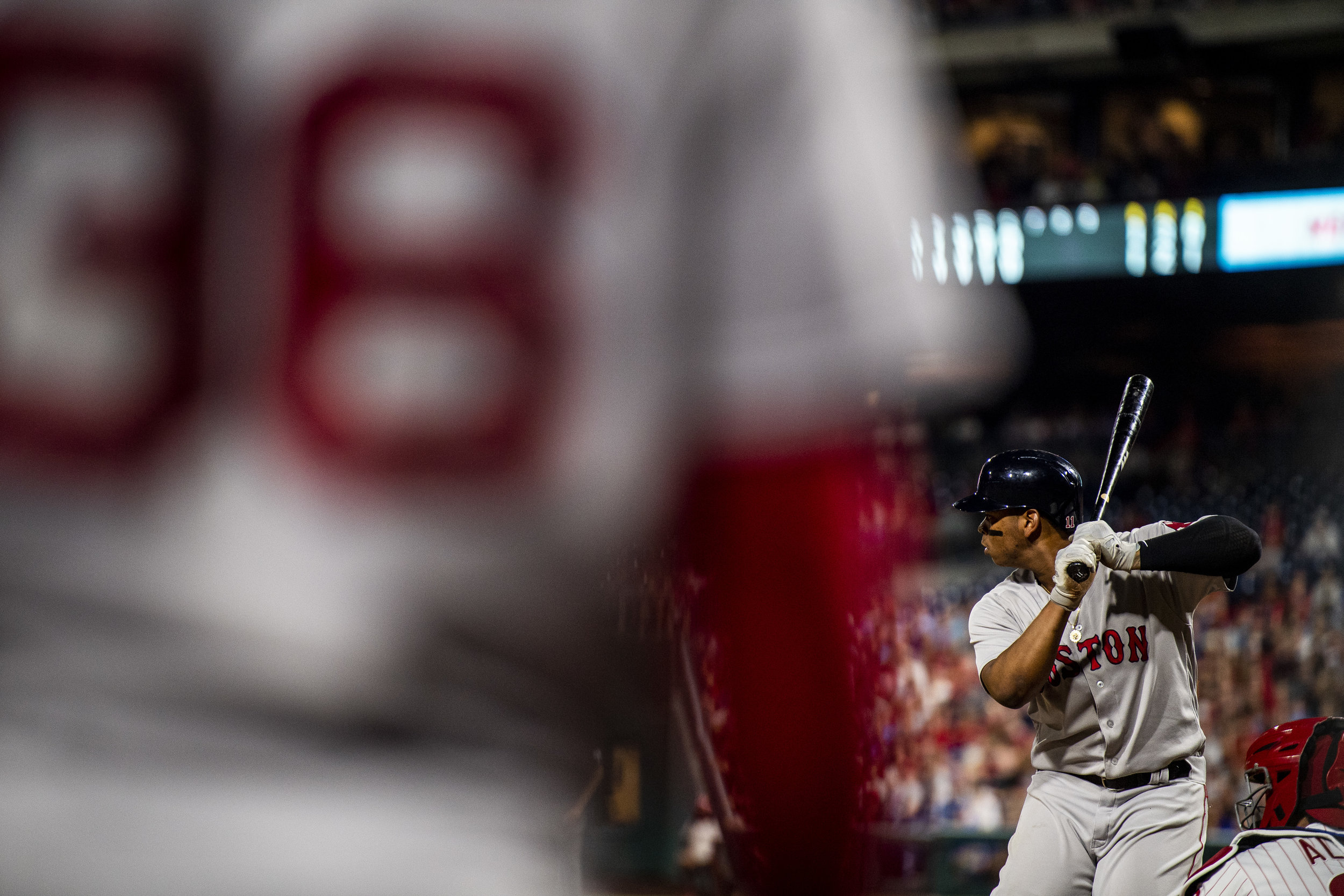 August 14, 2018, Philadelphia, PA: Boston Red Sox third basemen Rafael Devers prepress to take a swing as the Boston Red Sox face the Philadelphia Phillies at Citizen Bank Park in Philadelphia, Pennsylvania on Tuesday, August 14, 2018. (Photo by Matthew Thomas/Boston Red Sox)