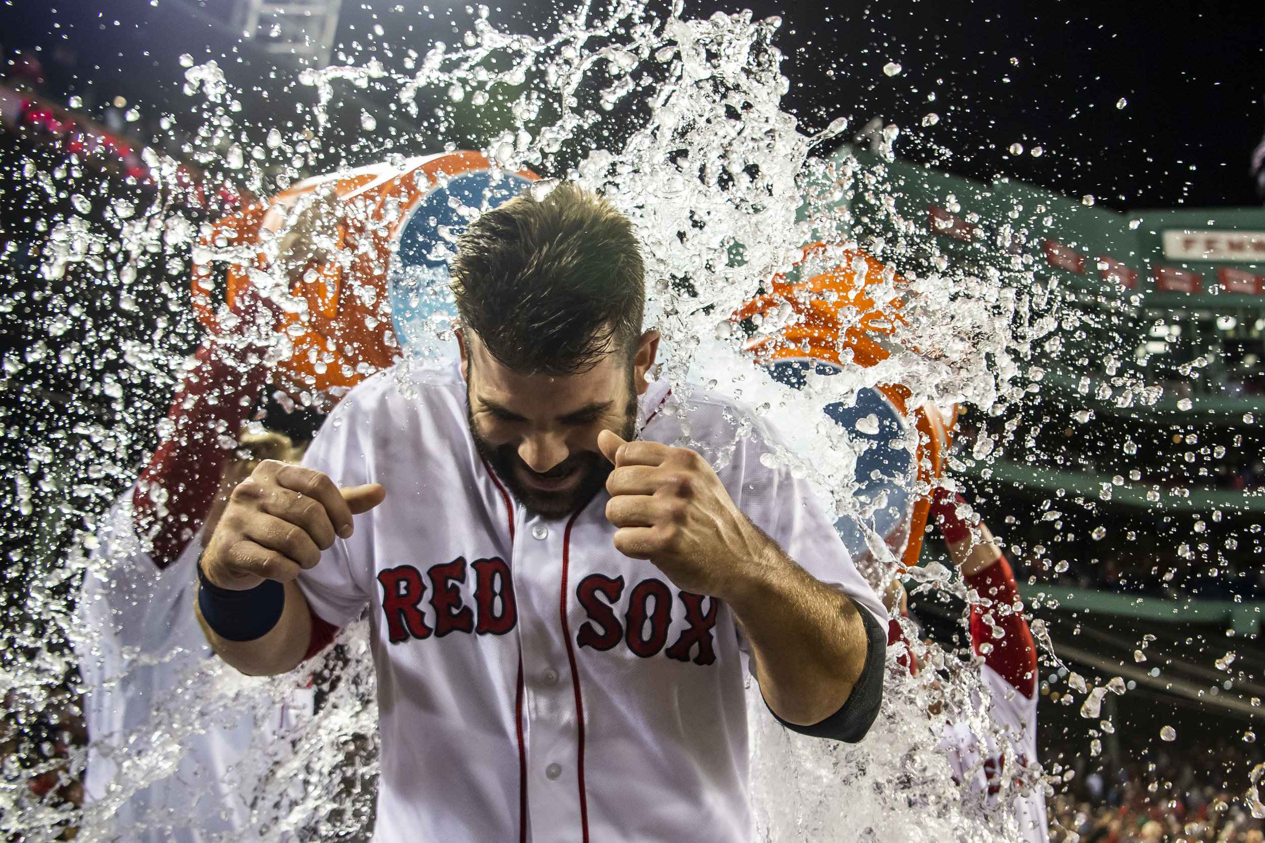 September 9, 2018 - Boston, MA: Boston Red Sox first basemen Mitch Moreland is doused with Gatorade after the Boston Red Sox defeated the Houston Astros at Fenway Park in Boston, Massachusetts on Sunday, September 9, 2018. (Photo by Matthew Thomas/Boston Red Sox)