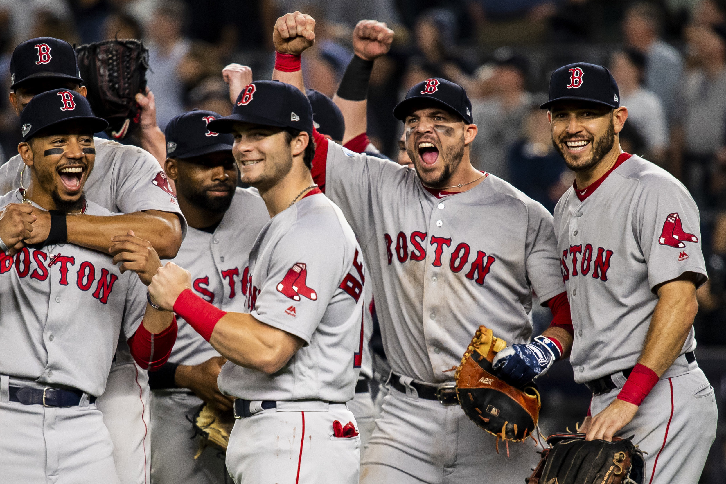 October 9, 2018, New York, NY: The team celebrates on the field after the Boston Red Sox defeated the New York Yankees in Game 4 of the ALDS to win the series at Yankee Stadium in New York, New York on Tuesday, October 9, 2018. (Photo by Matthew Thomas/Boston Red Sox)