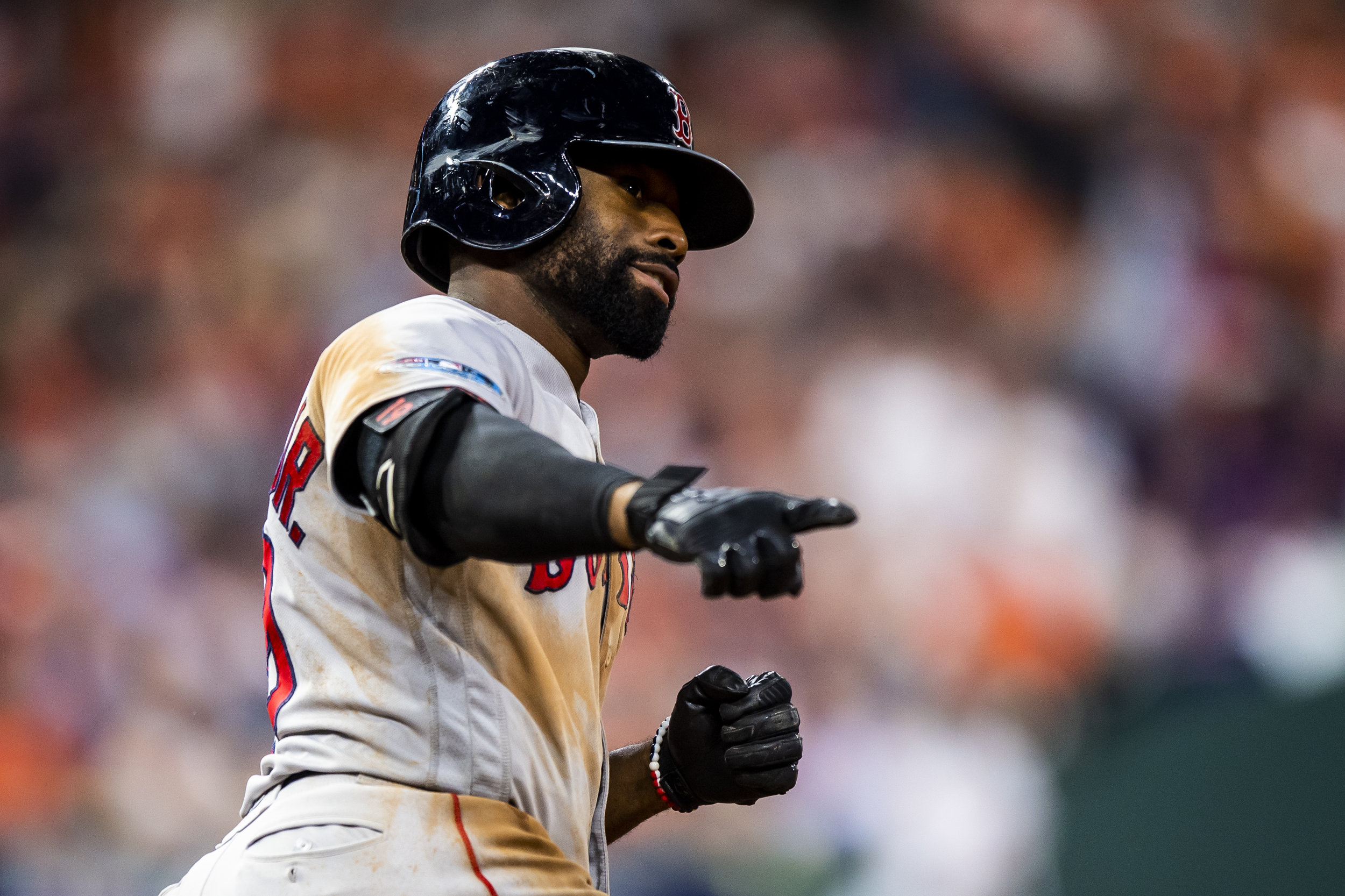 October 17, 2018, Houston, TX: Boston Red Sox outfielder Jackie Bradley Jr. points to the crowd after hitting a home run as the Boston Red Sox face the Houston Astros in Game 4 of the ALCS at Minute Maid Park in Houston, Texas on Wednesday, October 17, 2018. (Photo by Matthew Thomas/Boston Red Sox)