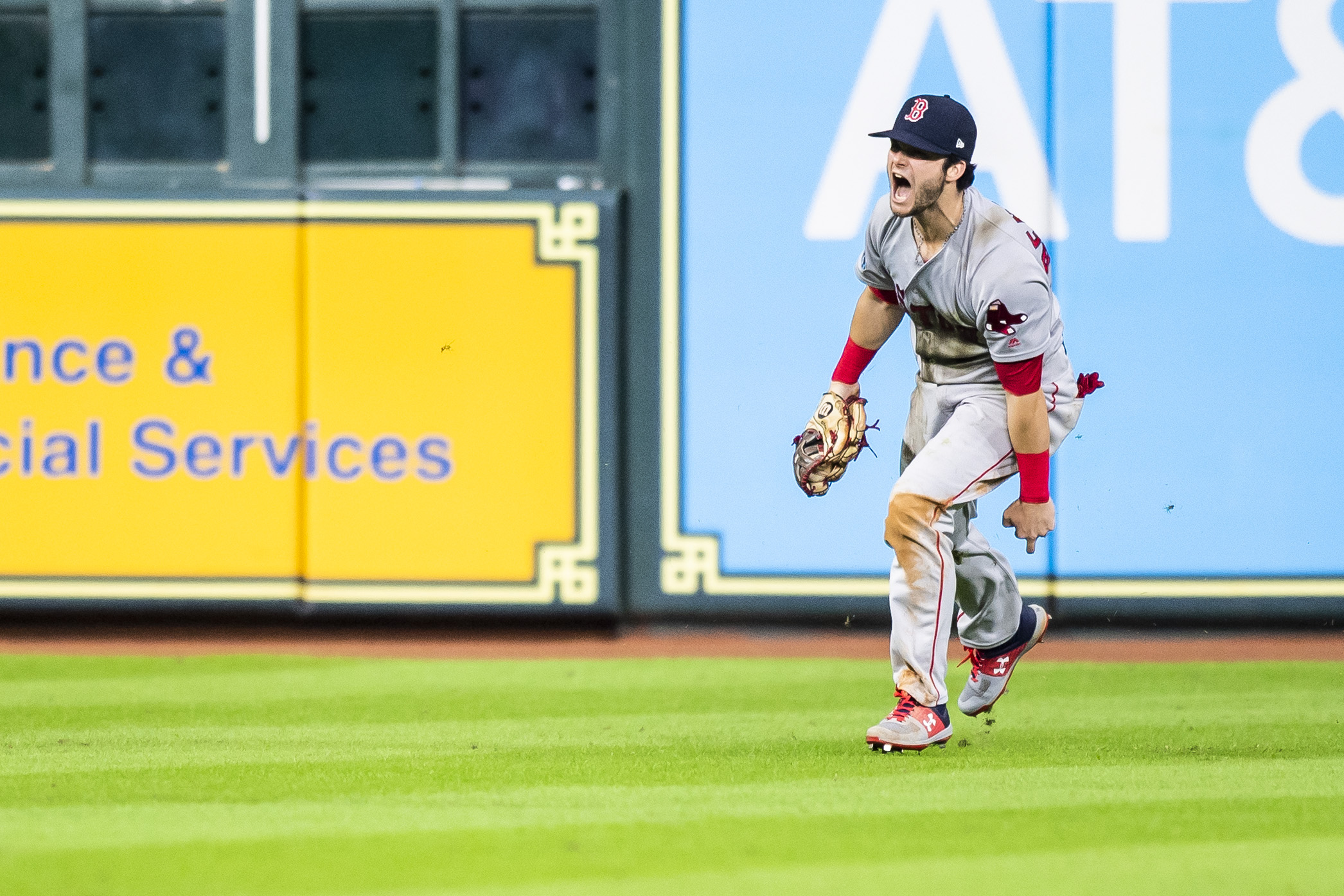 October 17, 2018, Houston, TX: Boston Red Sox outfielder Andrew Benintendi celebrates making the game winning catch after the Boston Red Sox defeated the Houston Astros in Game 4 of the ALCS at Minute Maid Park in Houston, Texas on Wednesday, October 17, 2018. (Photo by Matthew Thomas/Boston Red Sox)