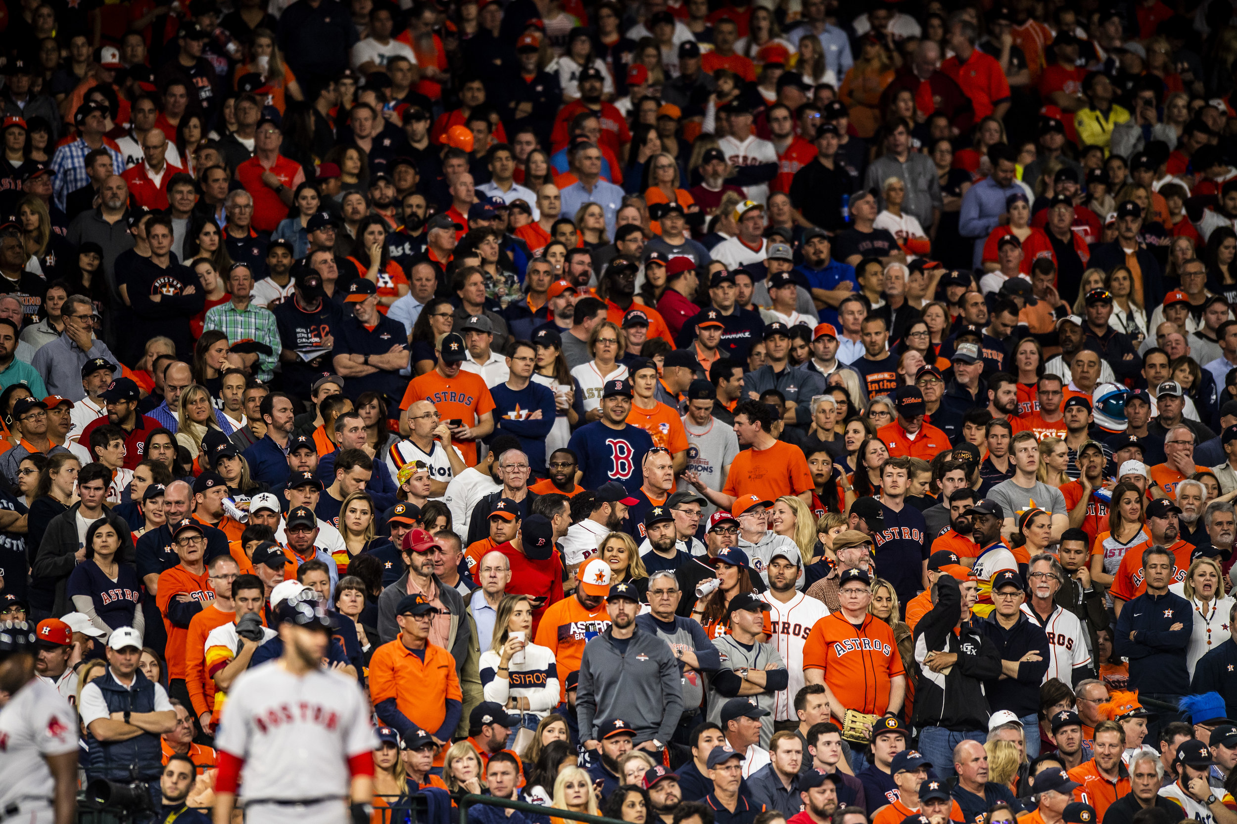 October 17, 2018, Houston, TX: One lone Red Sox fan in the crowd of Astros fans as the Boston Red Sox face the Houston Astros in Game 4 of the ALCS at Minute Maid Park in Houston, Texas on Wednesday, October 17, 2018. (Photo by Matthew Thomas/Boston Red Sox)