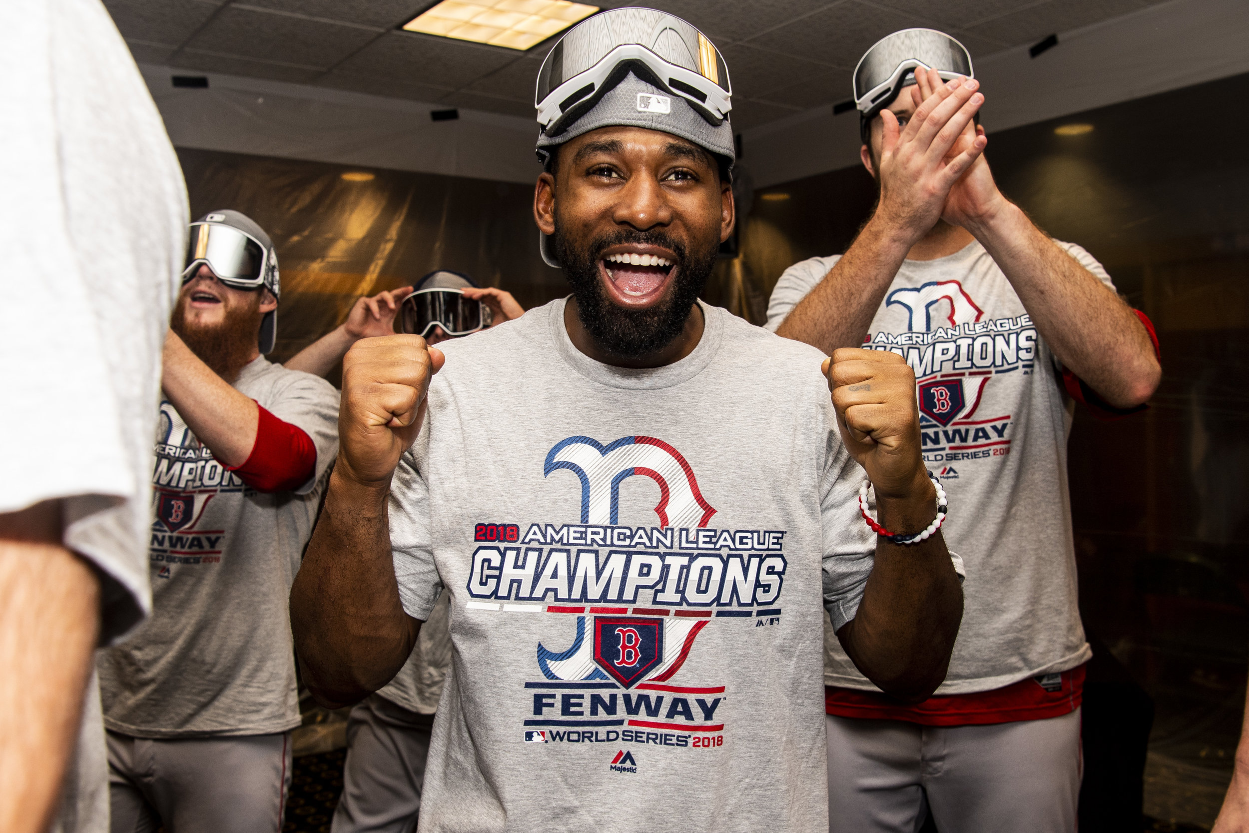 October 18, 2018, Houston, TX: Boston Red Sox outfielder Jackie Bradley Jr. celebrates after the Boston Red Sox defeated the Houston Astros in Game 5 of the ALCS to advance to the World Series at Minute Maid Park in Houston, Texas on Thursday, October 18, 2018. (Photo by Matthew Thomas/Boston Red Sox)