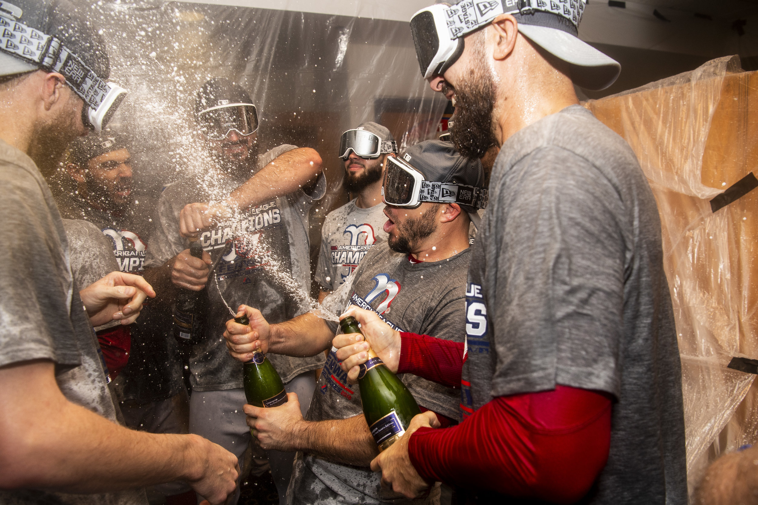 October 18, 2018, Houston, TX: The Boston Red Sox celebrate after defeating the Houston Astros in Game 5 of the ALCS to advance to the World Series at Minute Maid Park in Houston, Texas on Thursday, October 18, 2018. (Photo by Matthew Thomas/Boston Red Sox)