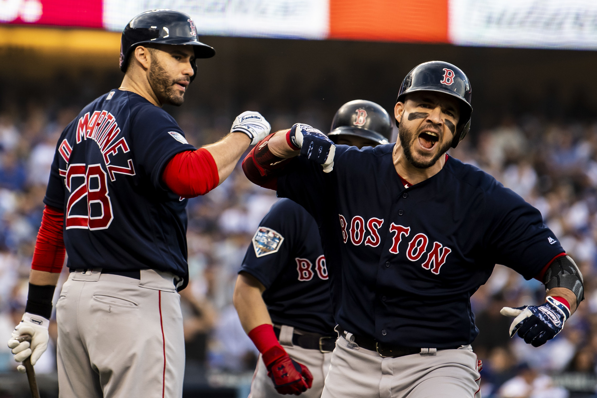 October 28, 2018, Los Angeles, Ca: Boston Red Sox infielder Steve Pearce celebrates after hitting a home run as the Boston Red Sox face the Los Angeles Dodgers in Game 5 of the World Series at Dodger Stadium in Los Angeles, California on Saturday, October 28, 2018. (Photo by Matthew Thomas/Boston Red Sox)