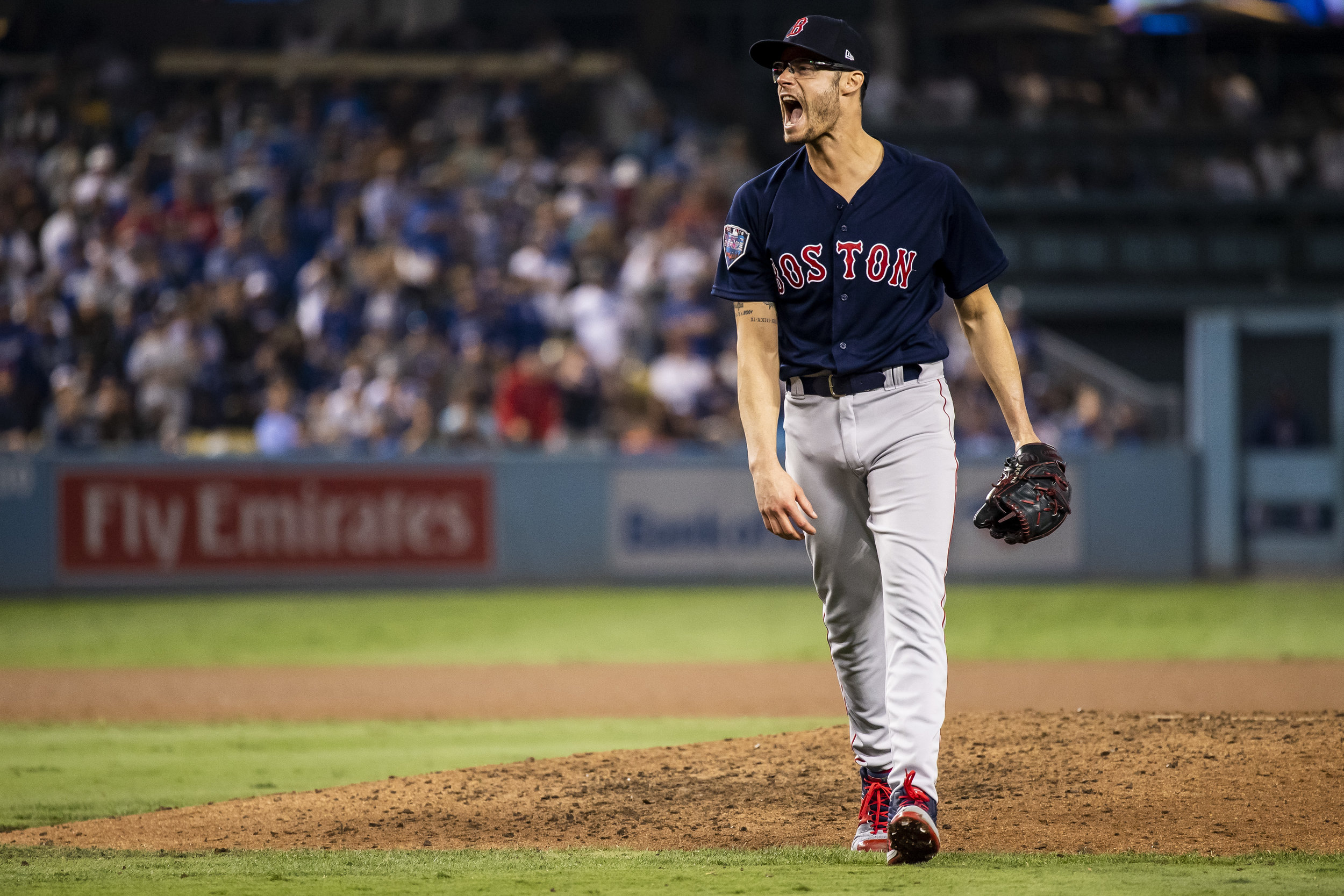 October 28, 2018, Los Angeles, Ca: Boston Red Sox pitcher Joe Kelly reacts to ending the inning as the Boston Red Sox face the Los Angeles Dodgers in Game 5 of the World Series at Dodger Stadium in Los Angeles, California on Saturday, October 28, 2018. (Photo by Matthew Thomas/Boston Red Sox)
