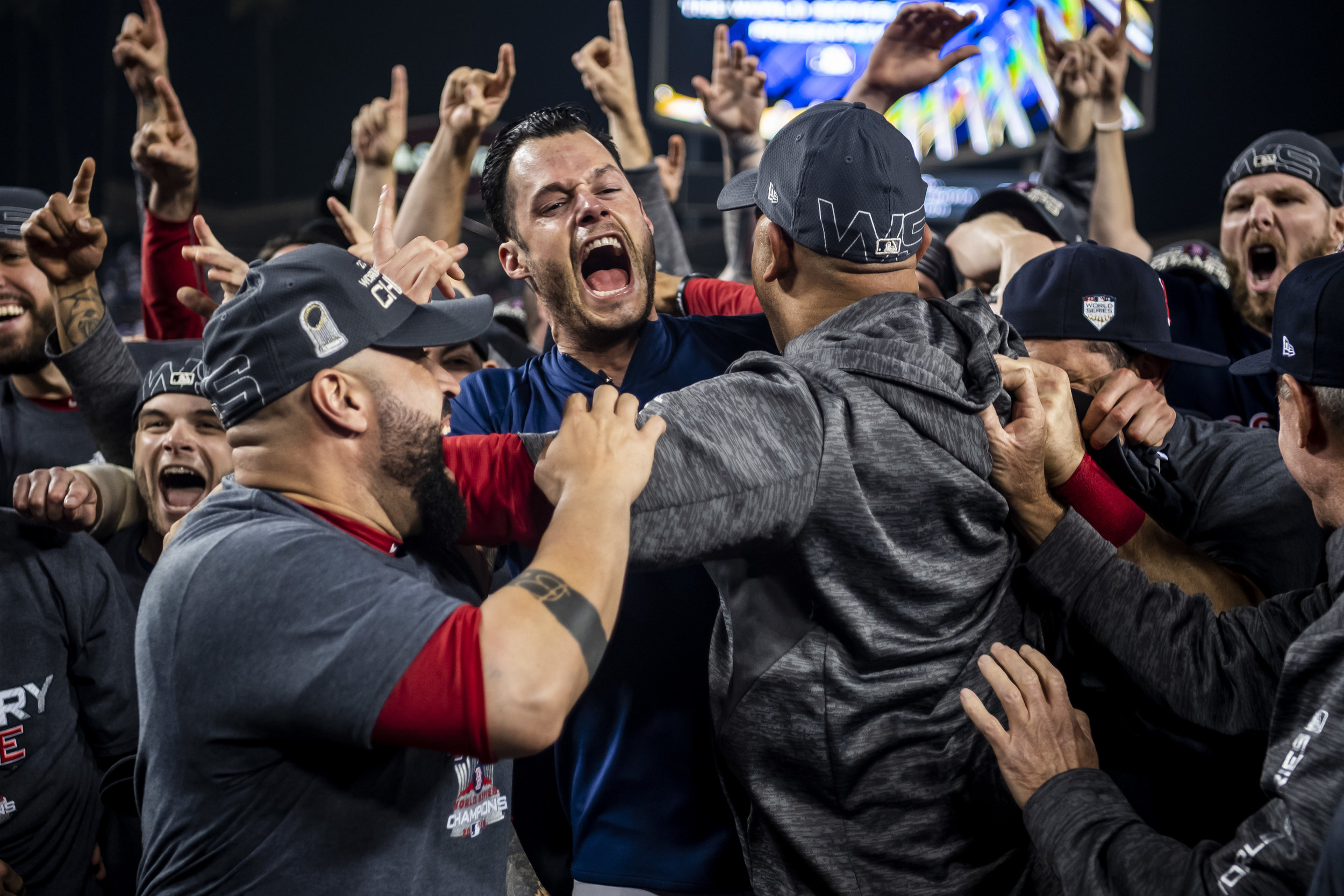October 28, 2018, Los Angeles, Ca: The team celebrates  after the Boston Red Sox defeated the Los Angeles Dodgers in Game 5 to win the World Series at Dodger Stadium in Los Angeles, California on Saturday, October 28, 2018. (Photo by Matthew Thomas/Boston Red Sox)
