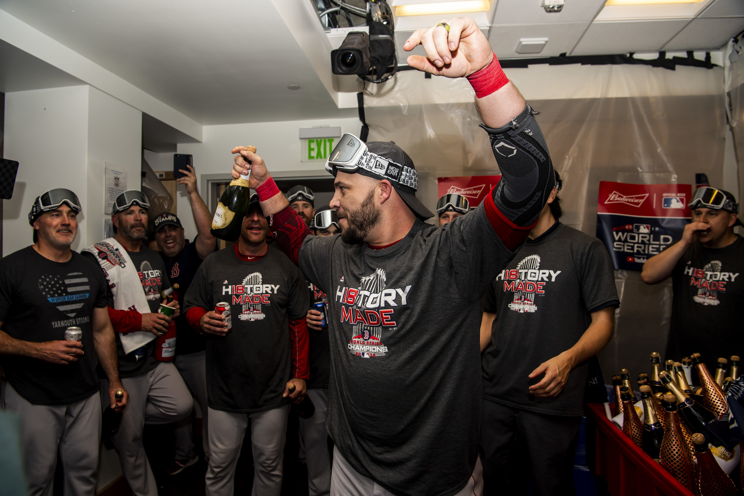 October 28, 2018, Los Angeles, Ca: World Series MVP Steve Pearce after the Boston Red Sox defeated the Los Angeles Dodgers in Game 5 to win the World Series at Dodger Stadium in Los Angeles, California on Saturday, October 28, 2018. (Photo by Matthew Thomas/Boston Red Sox)