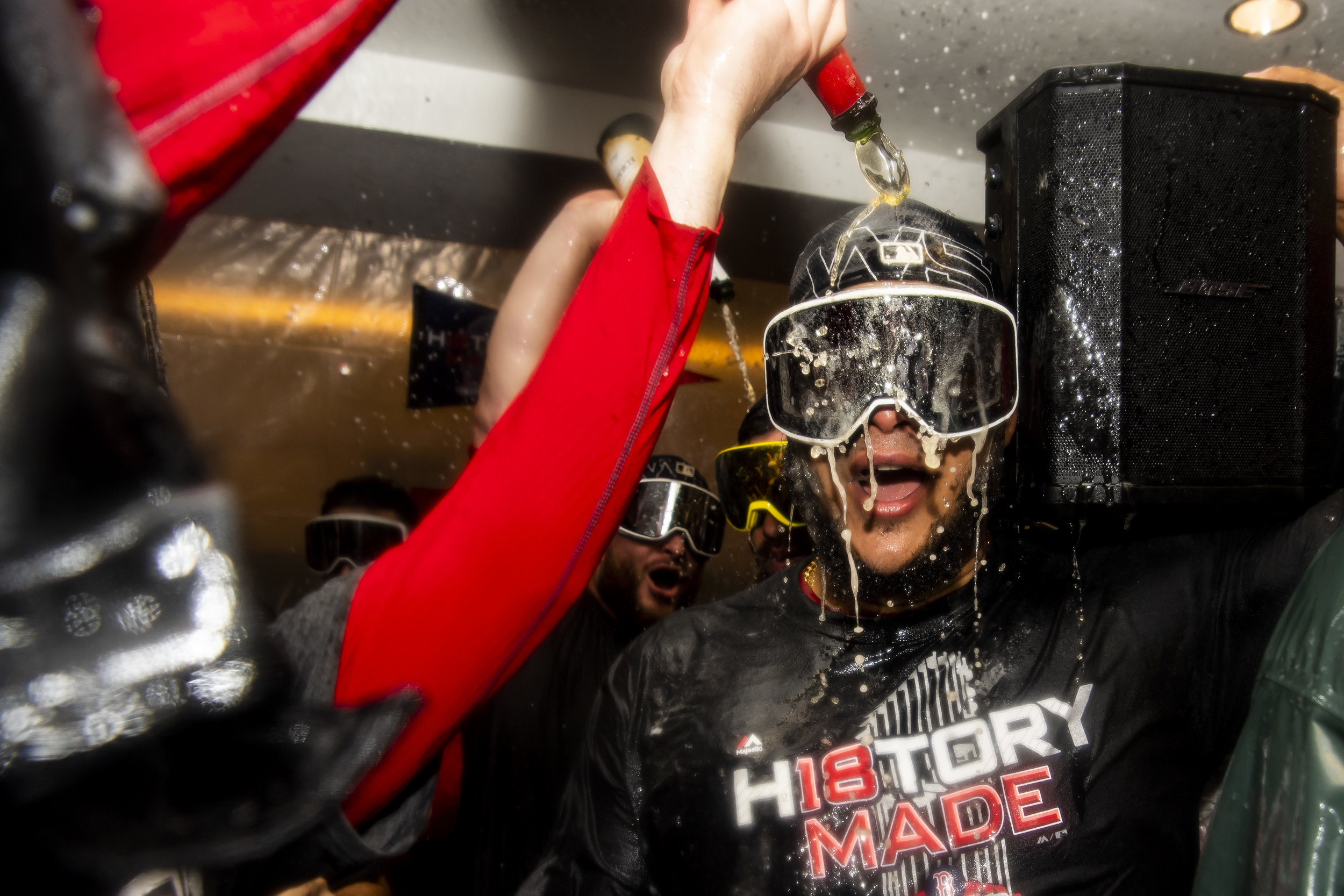 October 28, 2018, Los Angeles, Ca: Boston Red Sox pitcher Eduardo Rodriguez is covered in champagne after the Boston Red Sox defeated the Los Angeles Dodgers in Game 5 to win the World Series at Dodger Stadium in Los Angeles, California on Saturday, October 28, 2018. (Photo by Matthew Thomas/Boston Red Sox)