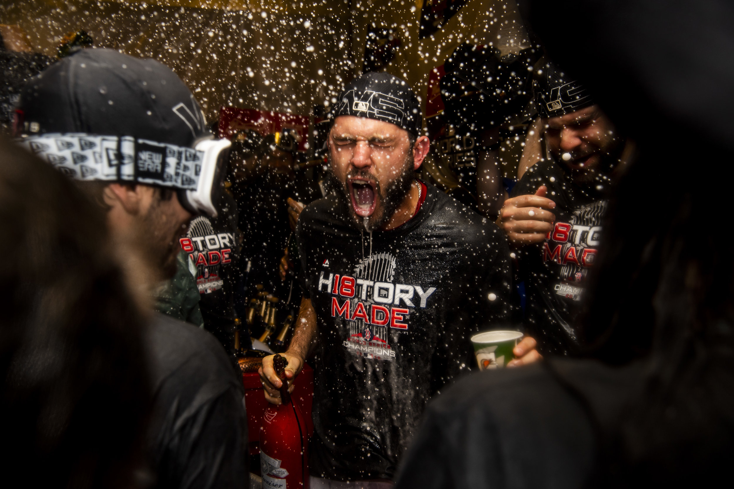 October 28, 2018, Los Angeles, Ca: Boston Red Sox second basemen Ian Kinsler sprays champagne after the Boston Red Sox defeated the Los Angeles Dodgers in Game 5 to win the World Series at Dodger Stadium in Los Angeles, California on Saturday, October 28, 2018. (Photo by Matthew Thomas/Boston Red Sox)