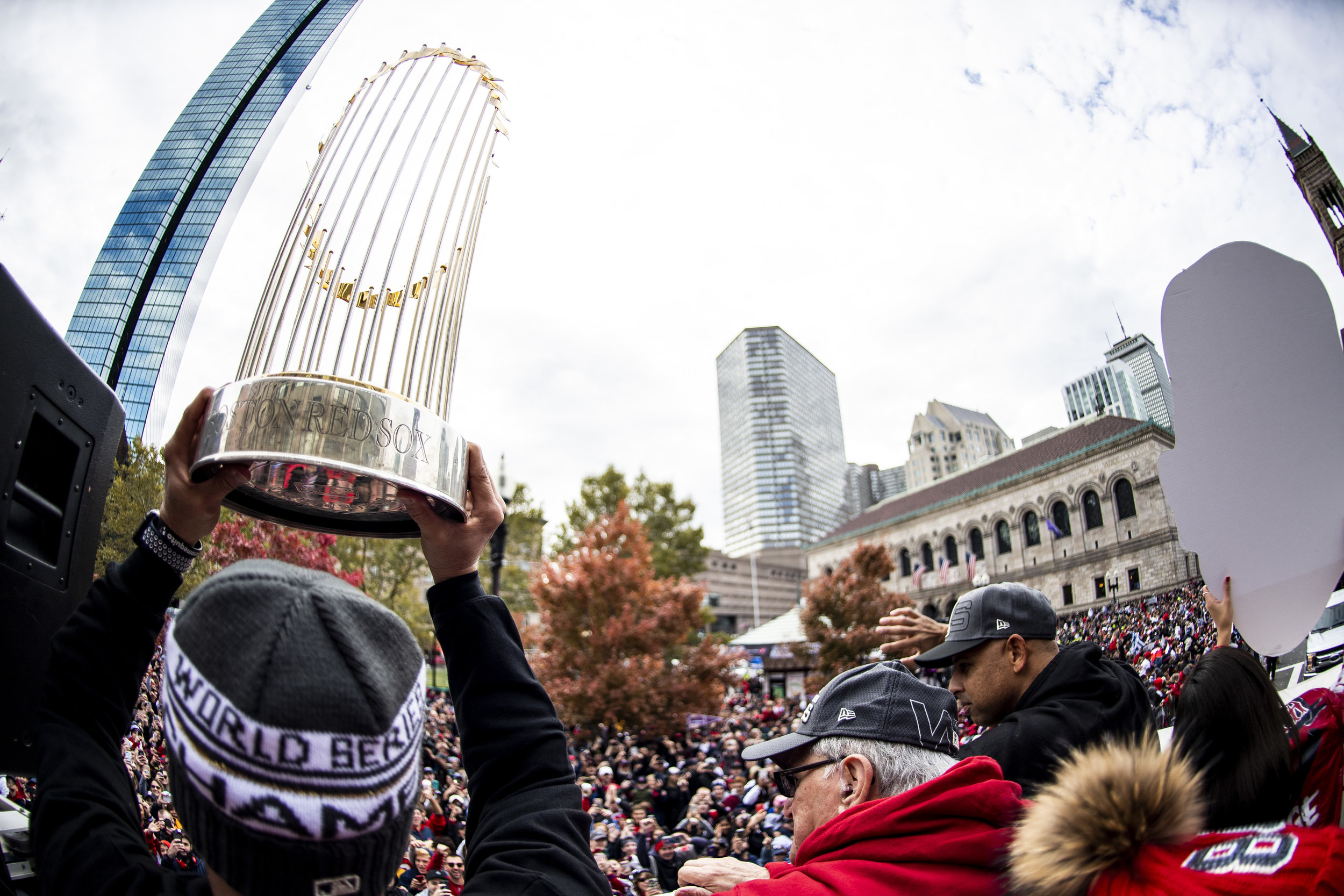 October 31, 2018, Boston, MA: Boston Red Sox Coach Ramon Vazquez holds up the World Series trophy as the Red Sox Celebrate the World Series Parade in Boston, Massachusetts on Wednesday, October 31, 2018. (Photo by Matthew Thomas/Boston Red Sox)
