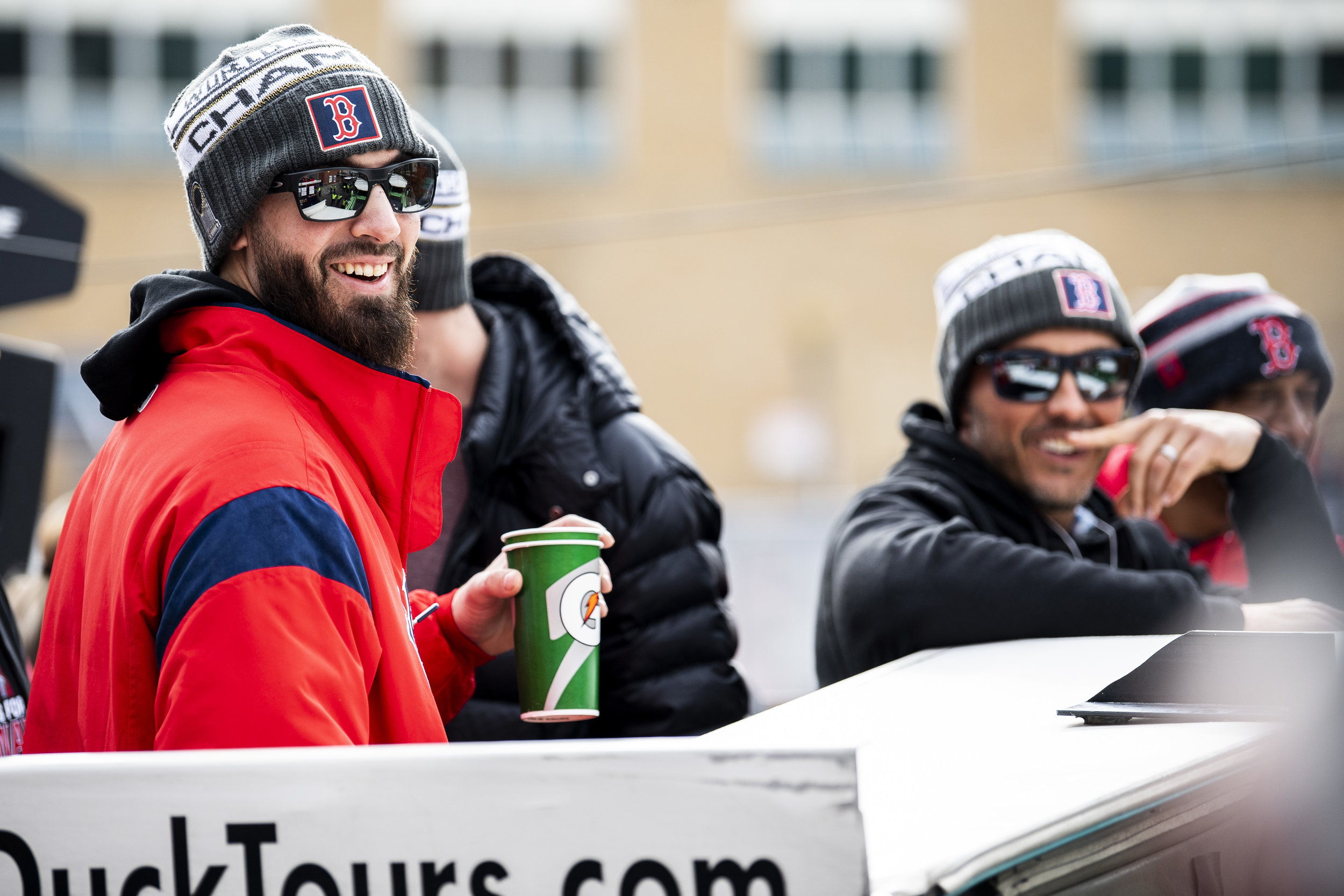 October 31, 2018, Boston, MA: Boston Red Sox pitcher Rick Porcello on the duck boat as the Red Sox Celebrate the World Series Parade in Boston, Massachusetts on Wednesday, October 31, 2018. (Photo by Matthew Thomas/Boston Red Sox)