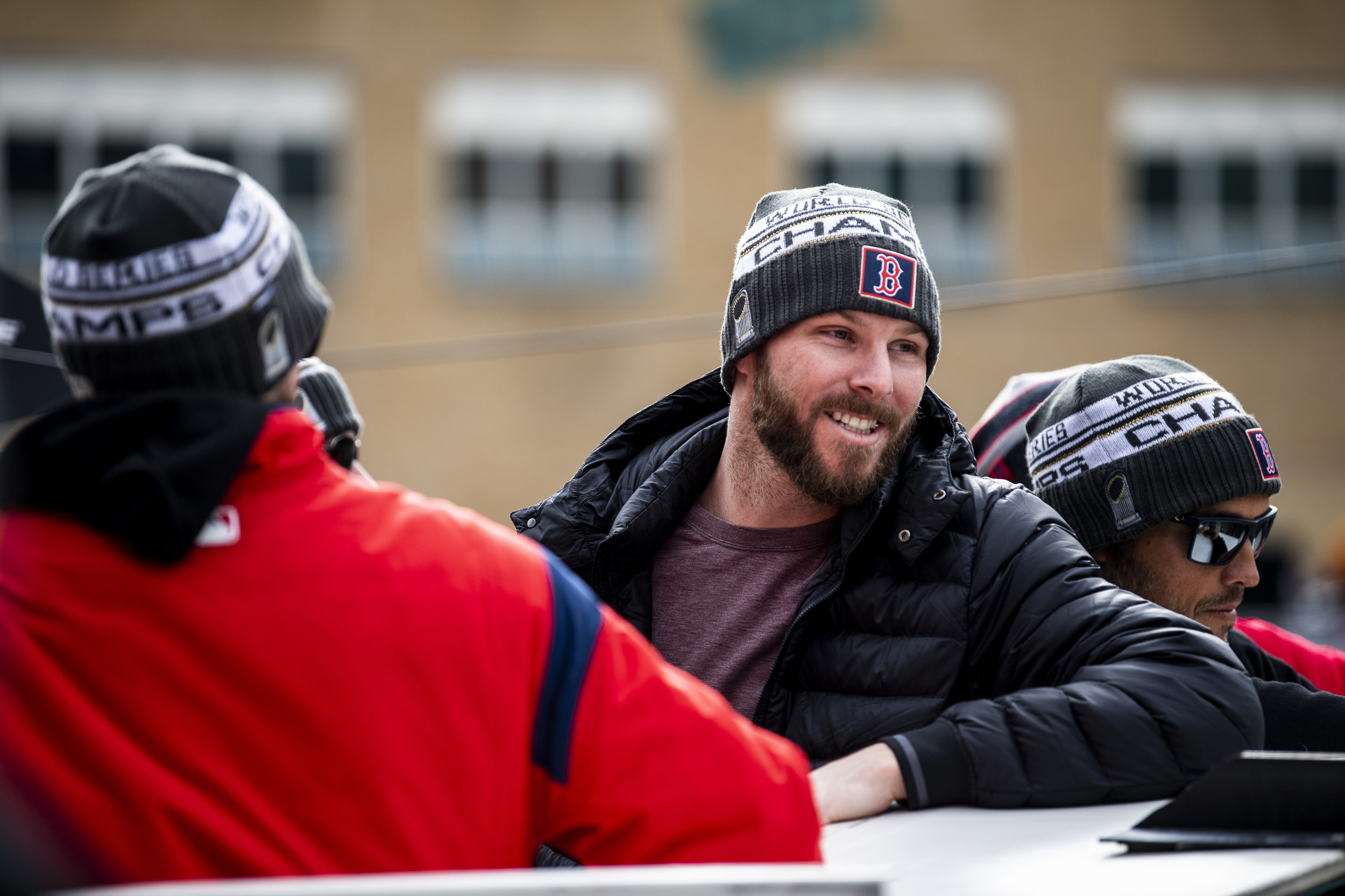 October 31, 2018, Boston, MA: Boston Red Sox pitcher Chris Sale on a duck boat as the Red Sox Celebrate the World Series Parade in Boston, Massachusetts on Wednesday, October 31, 2018. (Photo by Matthew Thomas/Boston Red Sox)