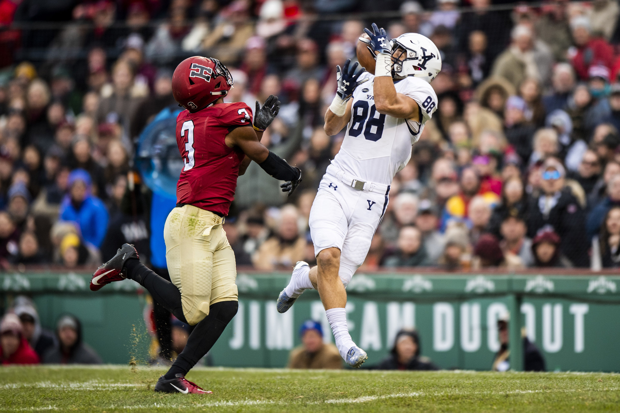 November 16, 2018, Boston, MA: A Yale football player makes a catch during the Harvard University and Yale University football Game at Fenway Park in Boston, Massachusetts on Thursday, November 16, 2018. (Photo by Matthew Thomas/Boston Red Sox)