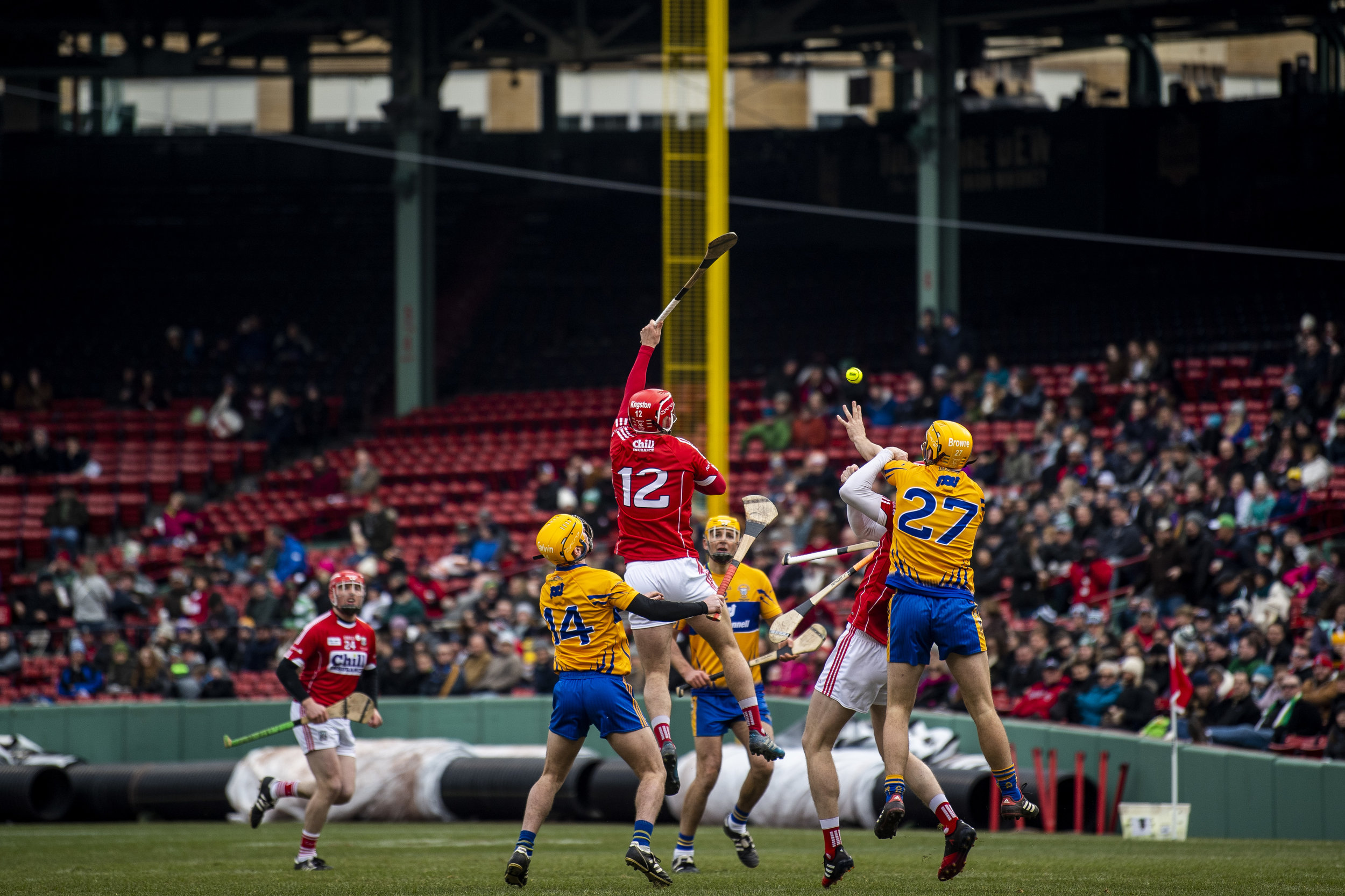 November 18, 2018, Boston, MA: during the Fenway Hurling Classic at Fenway Park in Boston, Massachusetts on Sunday, November 18, 2018. (Photo by Matthew Thomas/Boston Red Sox)