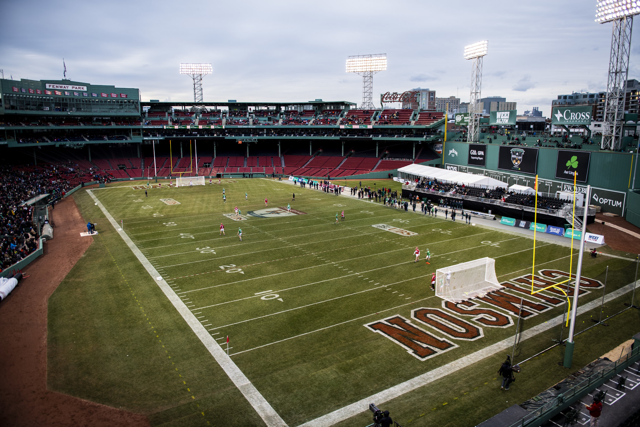 November 18, 2018, Boston, MA: Cork faces Limerick in the Championship match during the Fenway Hurling Classic at Fenway Park in Boston, Massachusetts on Sunday, November 18, 2018. (Photo by Matthew Thomas/Boston Red Sox)
