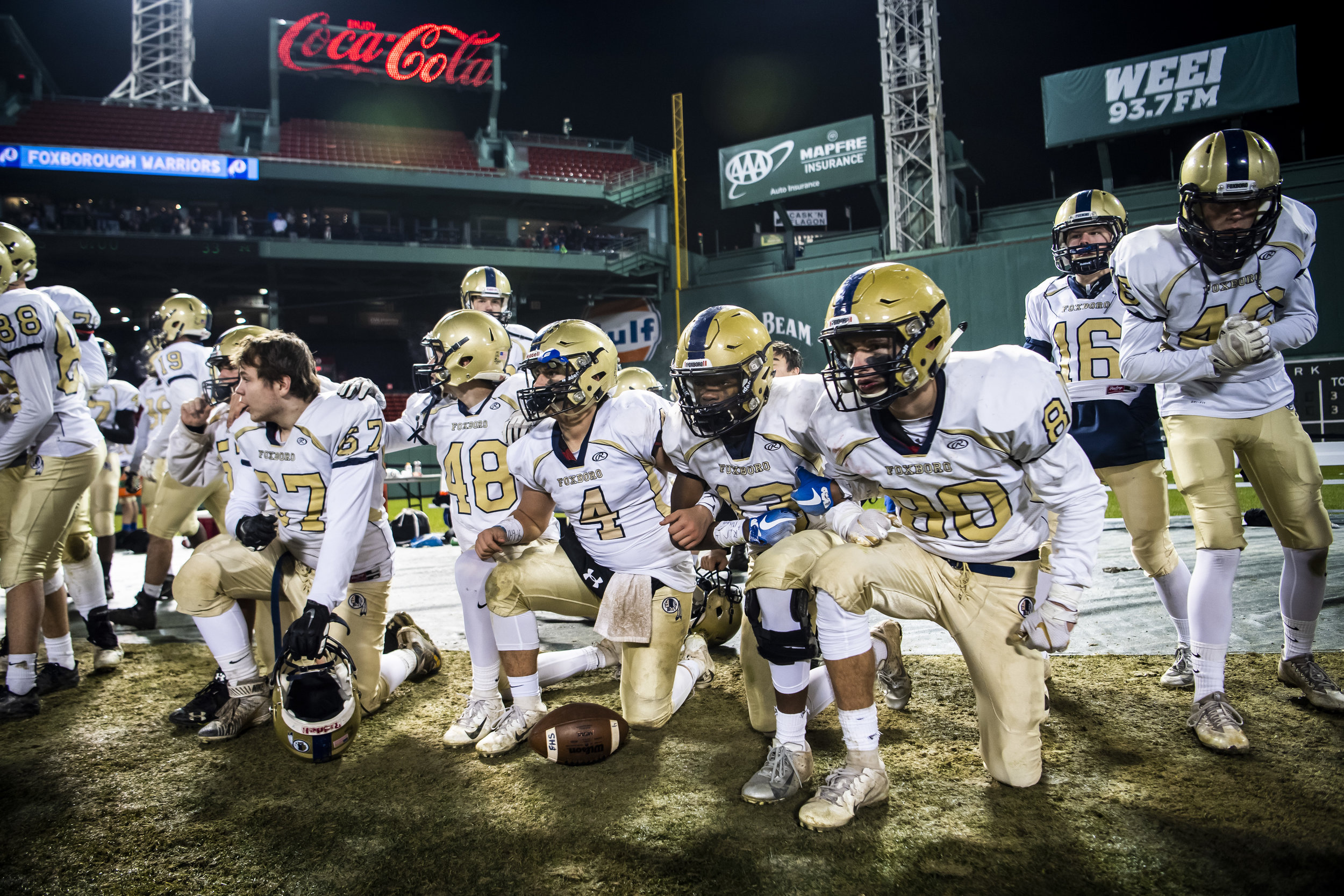 November 20, 2018, Boston, MA: Local high school football teams face off at Fenway Park in Boston, Massachusetts on Tuesday, November 20, 2018. (Photo by Matthew Thomas/Boston Red Sox)