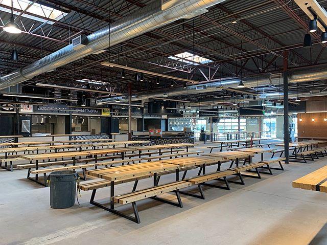 Furniture installation happening at #meridian105architecture Edgewater Public Market. #foodhall #edgewater #denver #market #denverarchitecture #modernarchitecture #interiordesign