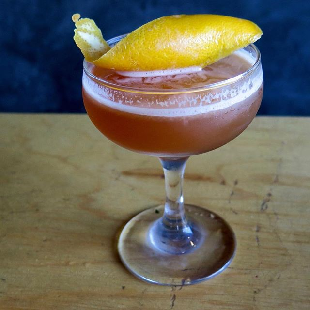 Vowel Cocktail shaken with scotch, sweet vermouth, kummel, & orange #piesocietybar #libations #drinkup #craftcocktails #mixology #costamesa #cheers