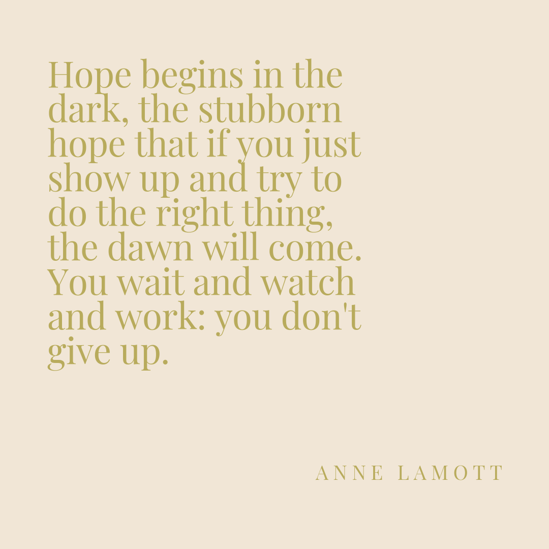 """Hope begins in the dark, the stubborn hope that if you just show up and try to do the right thing, the dawn will come. You wait and watch and work_ you don't give up.""-3.png"