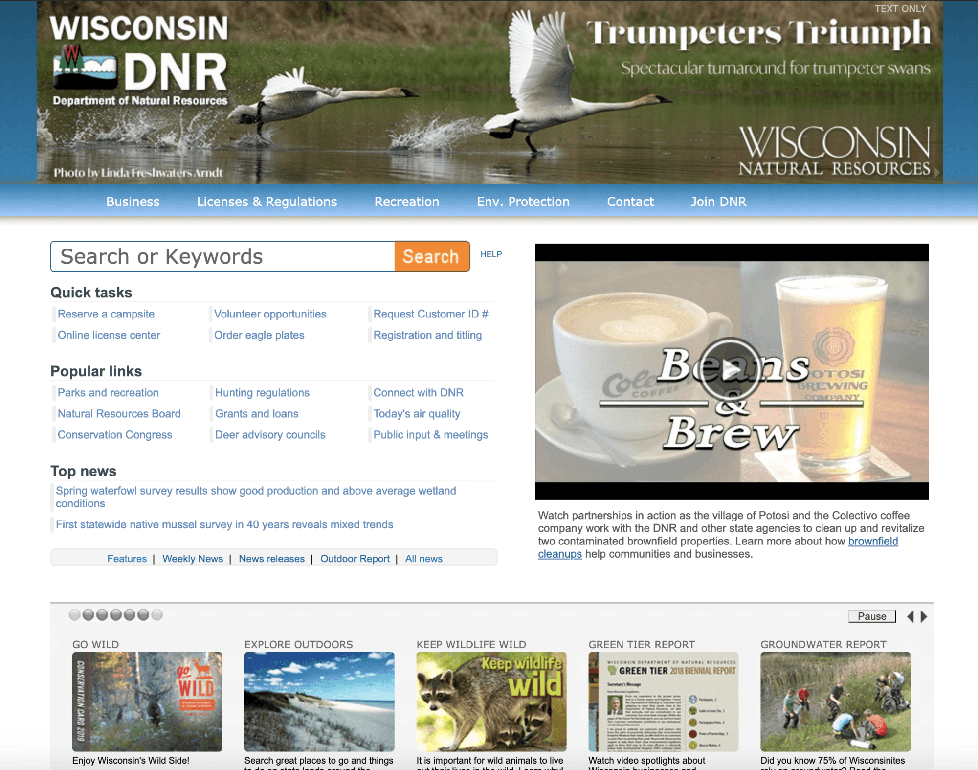 Current WDNR homepage as of July 7, 2019.