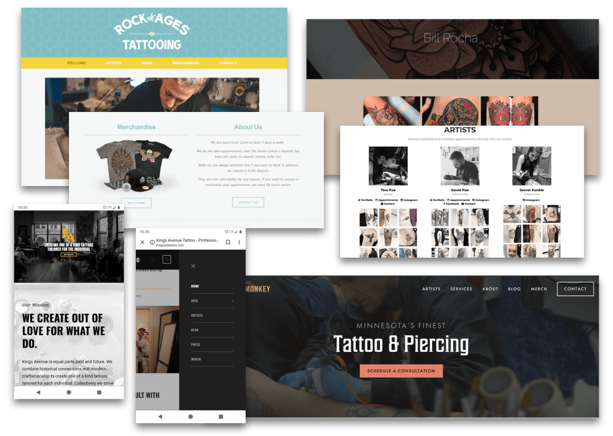 Screenshots from various tattoo sites around the country.