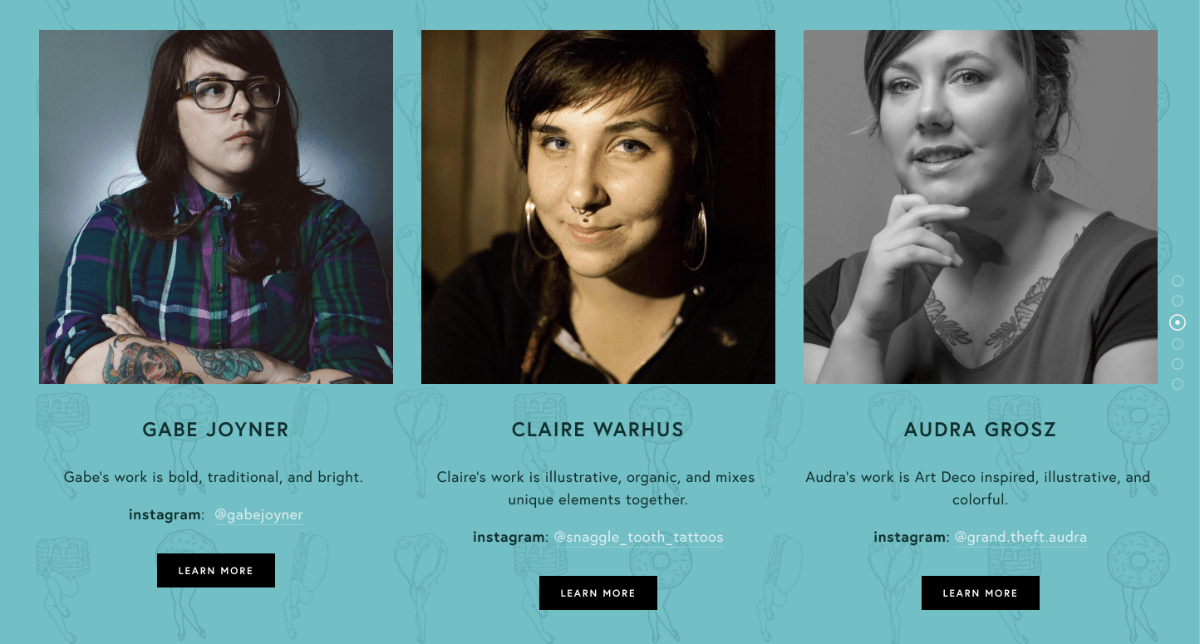 The short description of each artist's style on the Wayward homepage. We also included a quick link to their personal instagram where they regularly post work.