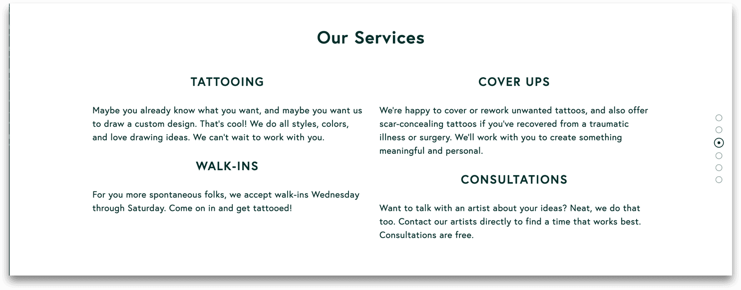 We worked with Wayward to craft descriptions of the services they offer.