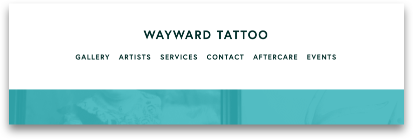 Wayward Tattoo's main navigation