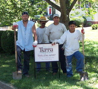 a terra landscape and design crew on the job site