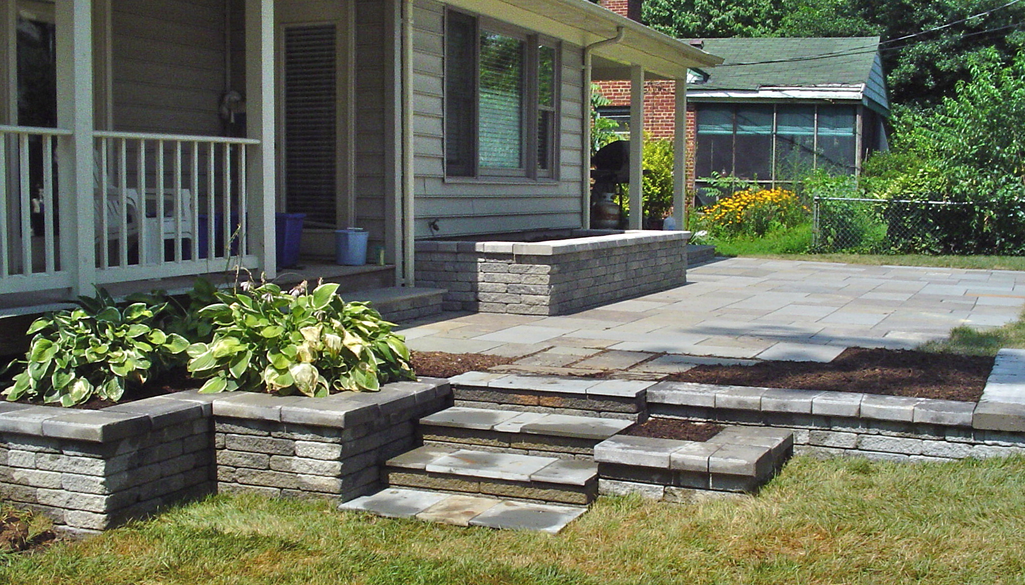 Tiered planters and patio