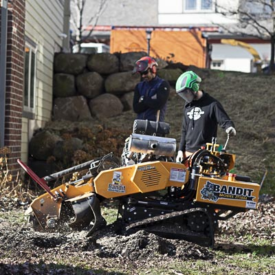Grinding out a large stump.