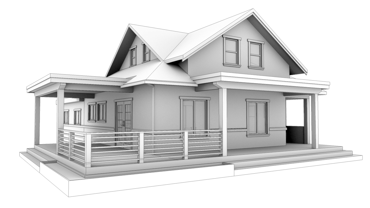 Massing study of new covered porches...