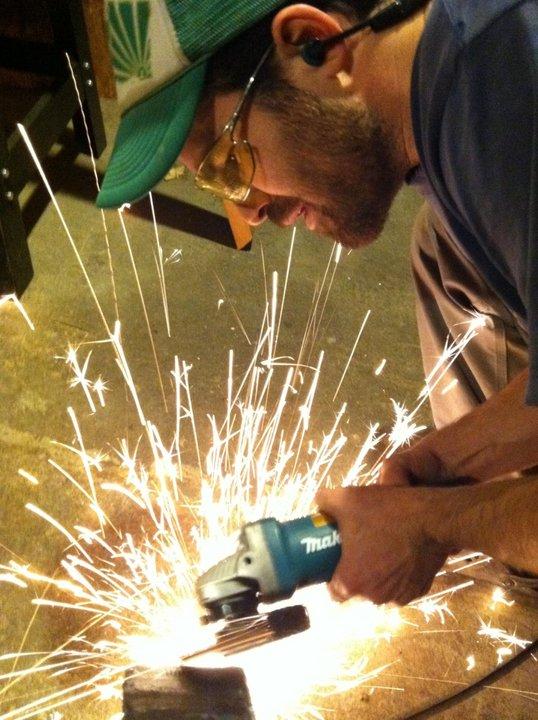 Aaron Westgate fabricating custom steel table legs