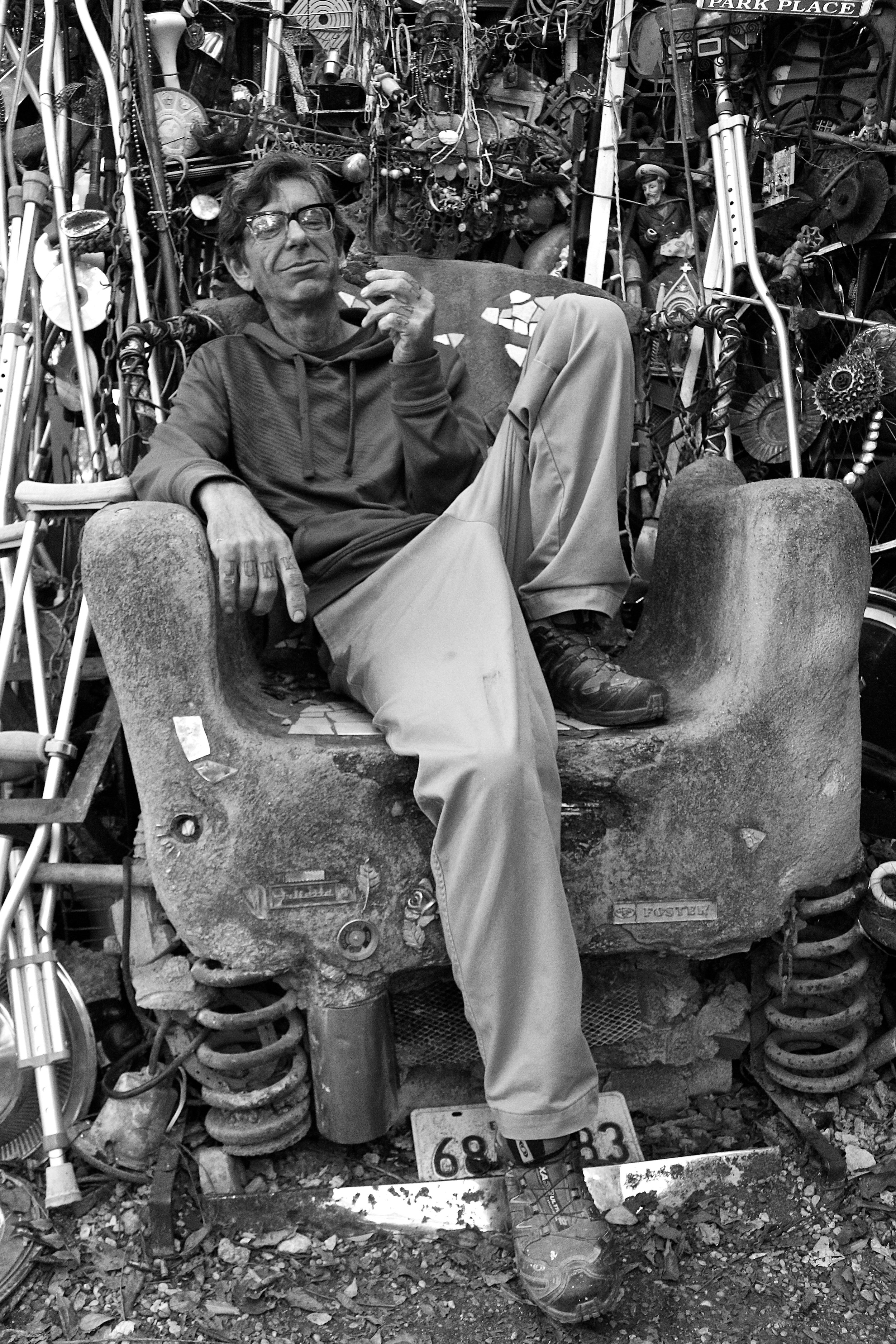 Vince Hahnemann:architect, builder, and mastermind behind the Cathedral of Junk in Austin, Texas.