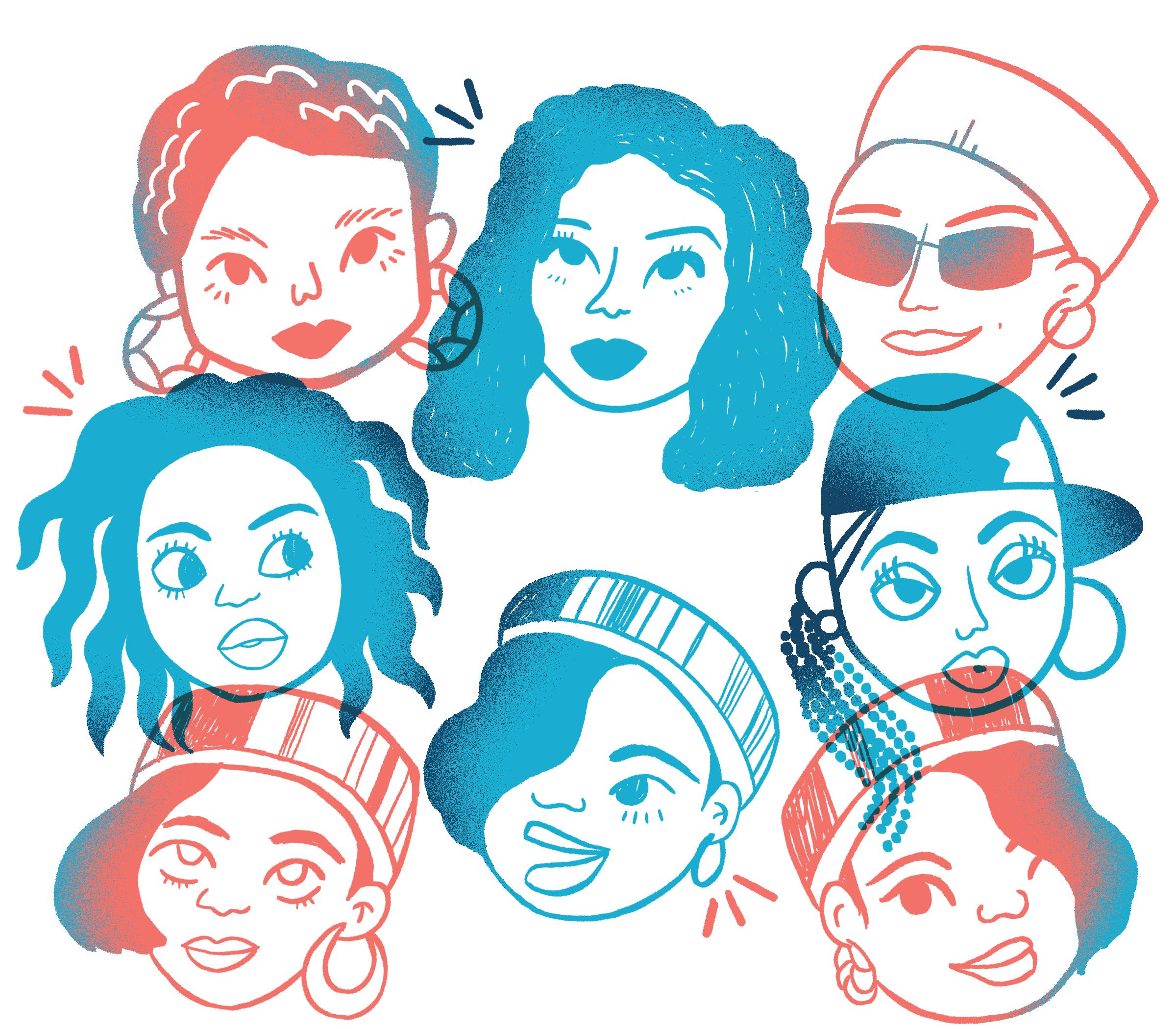 Portrait. First row, from left to right: Michie Mee, MC Lyte, Queen Latifah. Second row: Lauryn Hill, Missy Elliott. Third row: Salt, DJ Spinderella, Peppa