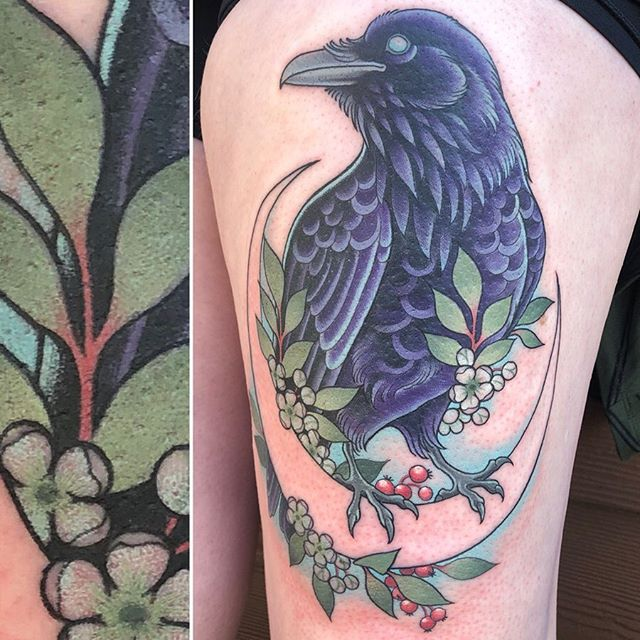 Raven with rowan blossoms and berries. All knocked out in one session! ➡️ swipe for some close shots. . . . . #tattoo #raventattoo #raven #rowan #mntattooers #jackalopetattoo #norarosetattoos