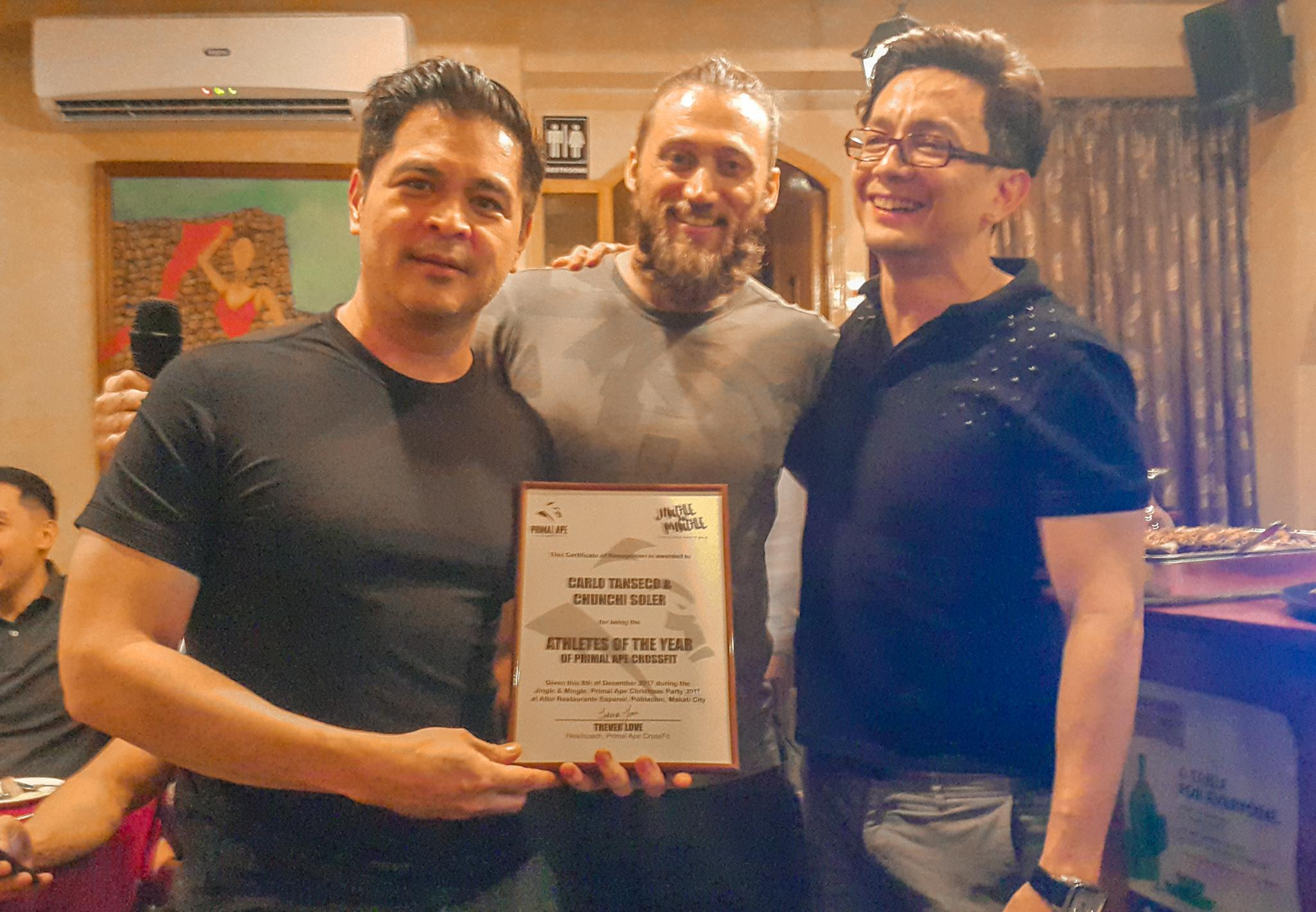 Carlo and Chunchi receives the Certificate of Recognition as Primal Ape's Athlete of the Year