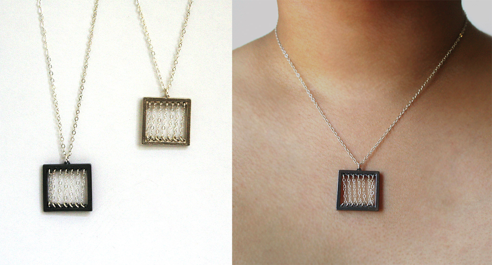 Rectangle x Chain Series - Necklace      Material: Silver
