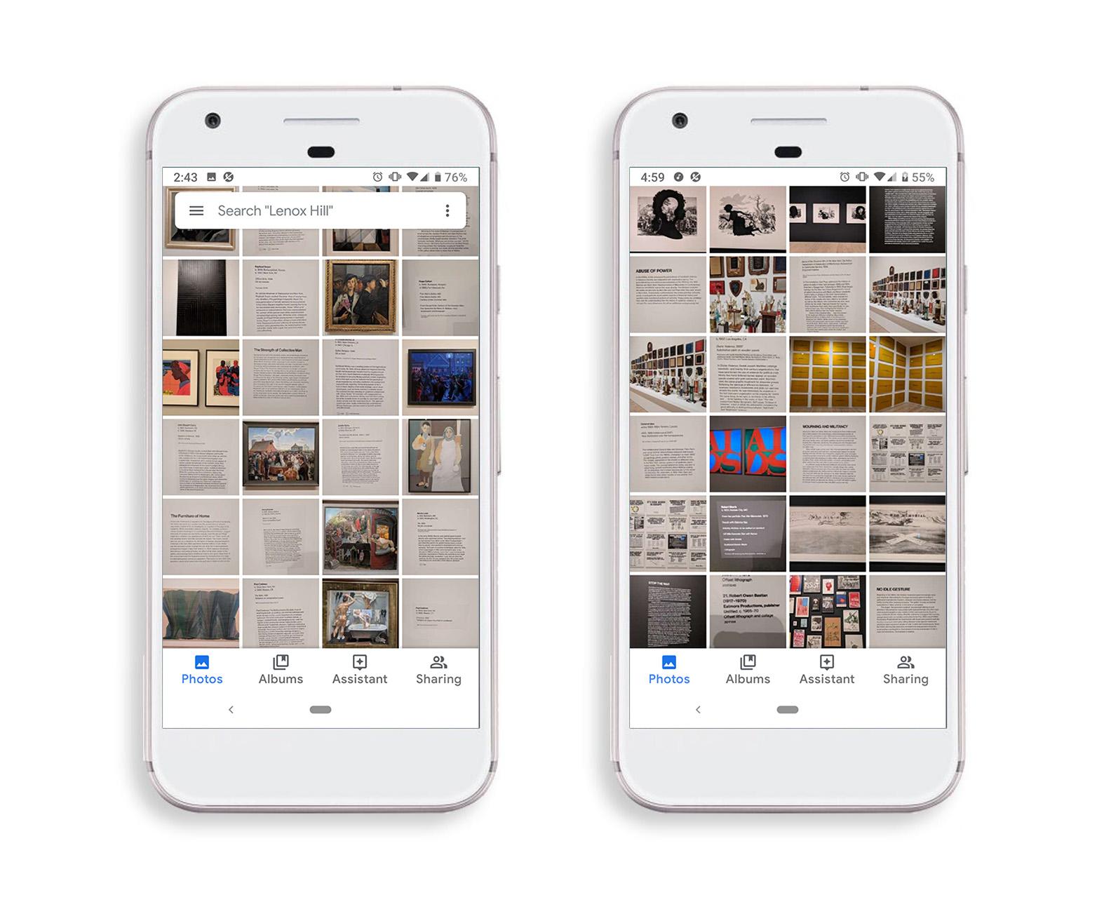 Screenshots of disorganized photo album on my smartphone.