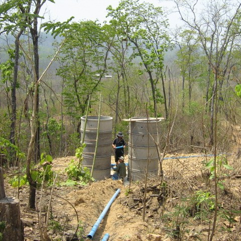 Connecting the sand filters below the sediment tank