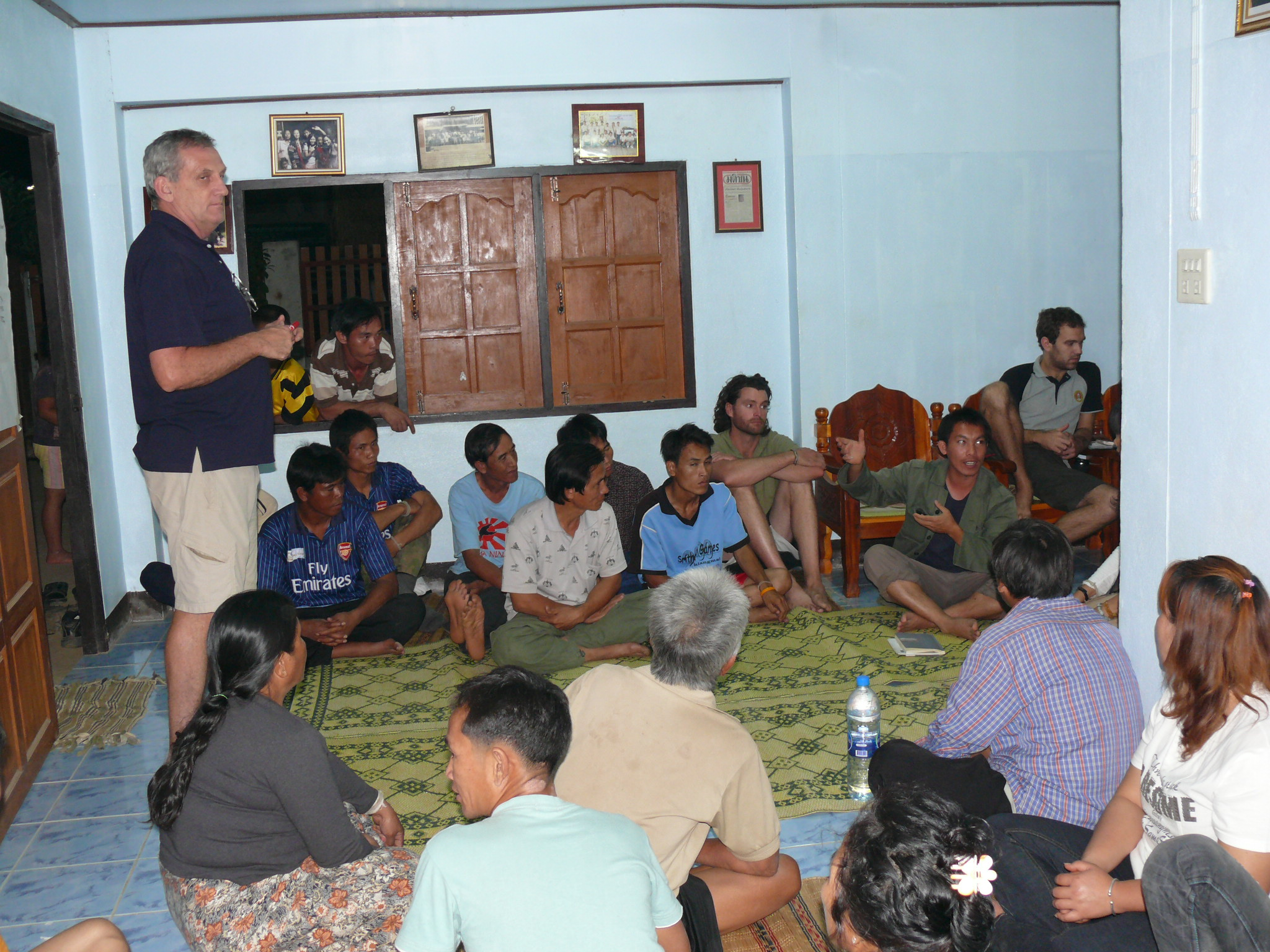 Meeting with the villagers to decide on the best option for the project