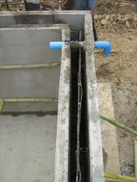 ซีเมนต์บล็อคด้านใน และด้านนอกที่ใช้ทำเป็นแบบสำหรับผนังของบ่อกรอง