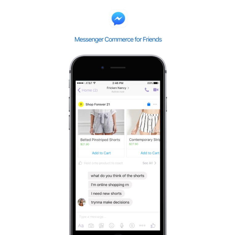Messenger Commerce for Friends