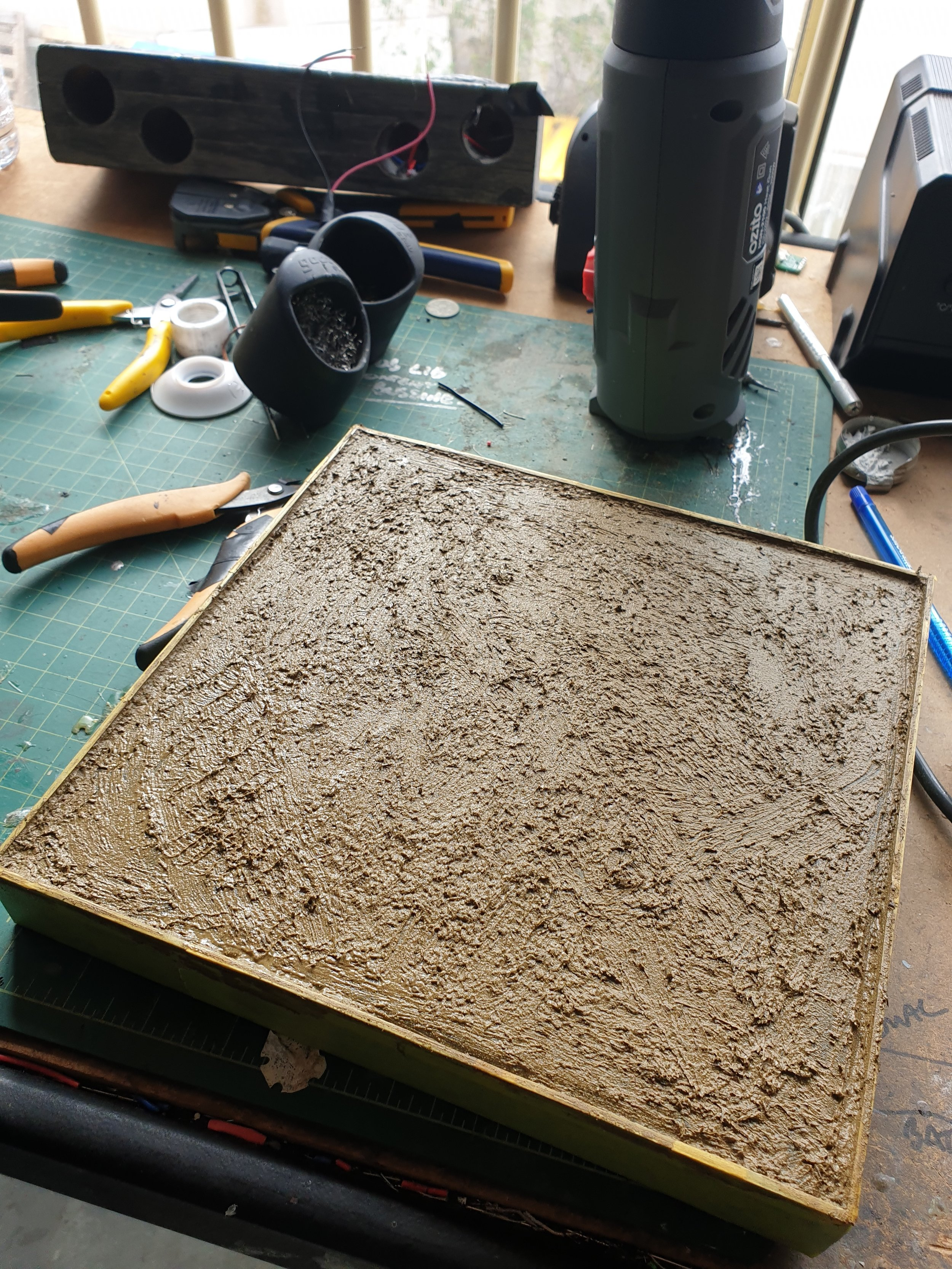 The base created and mud texture applied. Ready for grass.