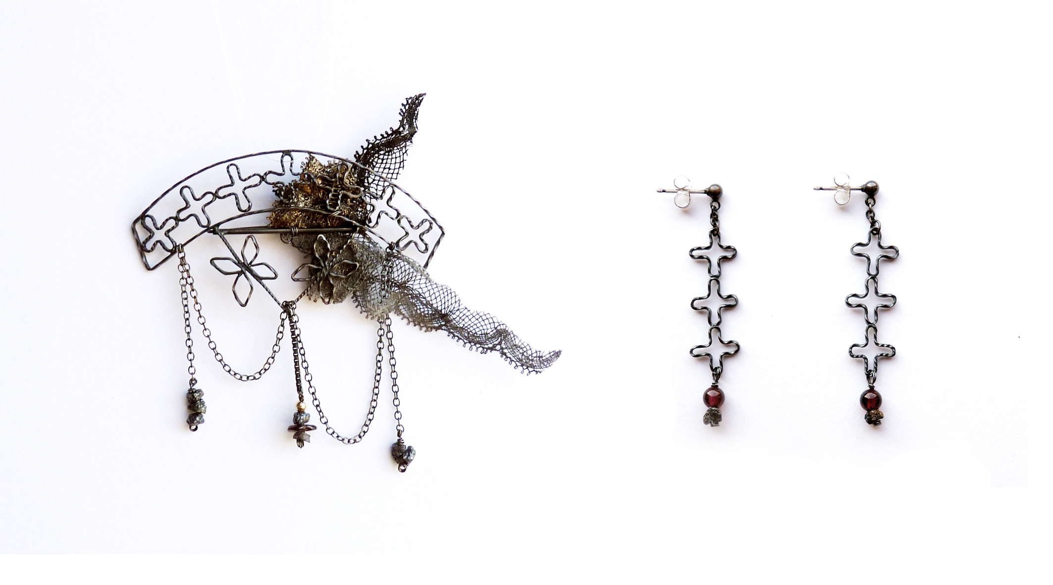 Flower Railings Brooch and Earrings -  oxidised silver, garnet, rough diamonds, vintage lace. 2012
