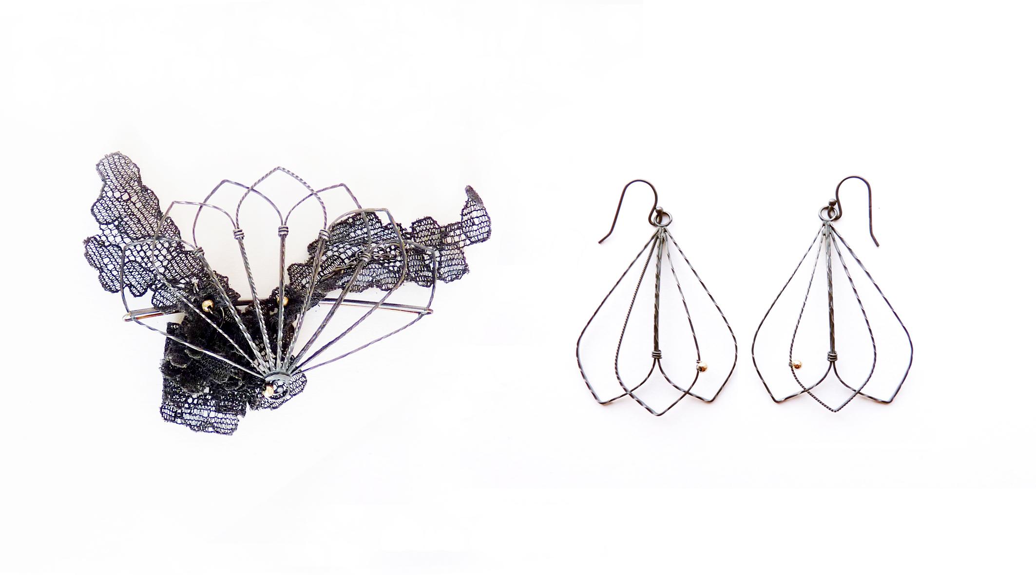 Fan Railings Brooch and Earrings -  oxidised silver, 9ct gold, vintage lace.2012