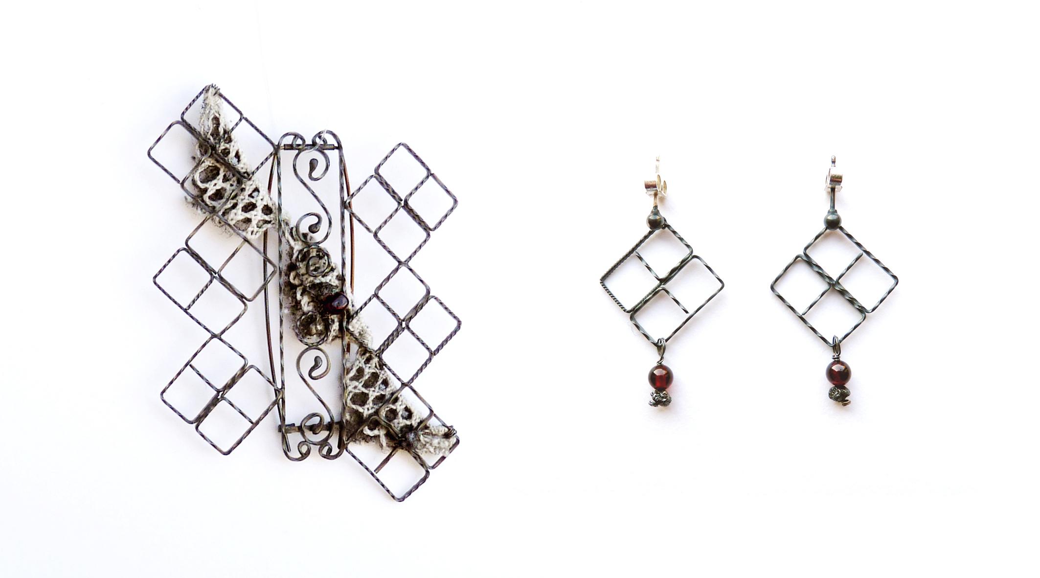 Cross Railings Brooch and Earrings -  oxidised silver, garnet, rough diamond, vintage lace. 2012