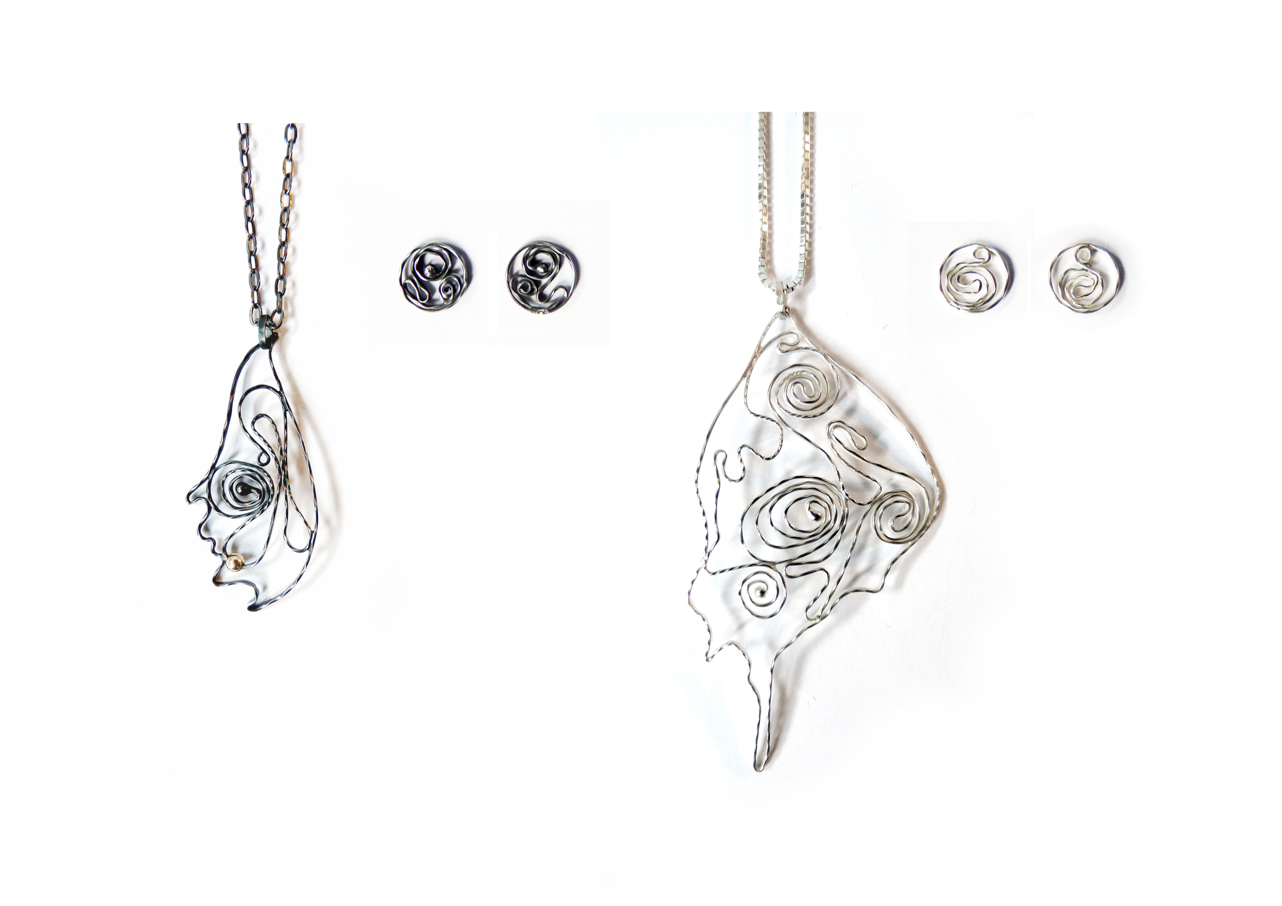 Flilgree Wing Pendants and Earrings  oxidised and sterling silver