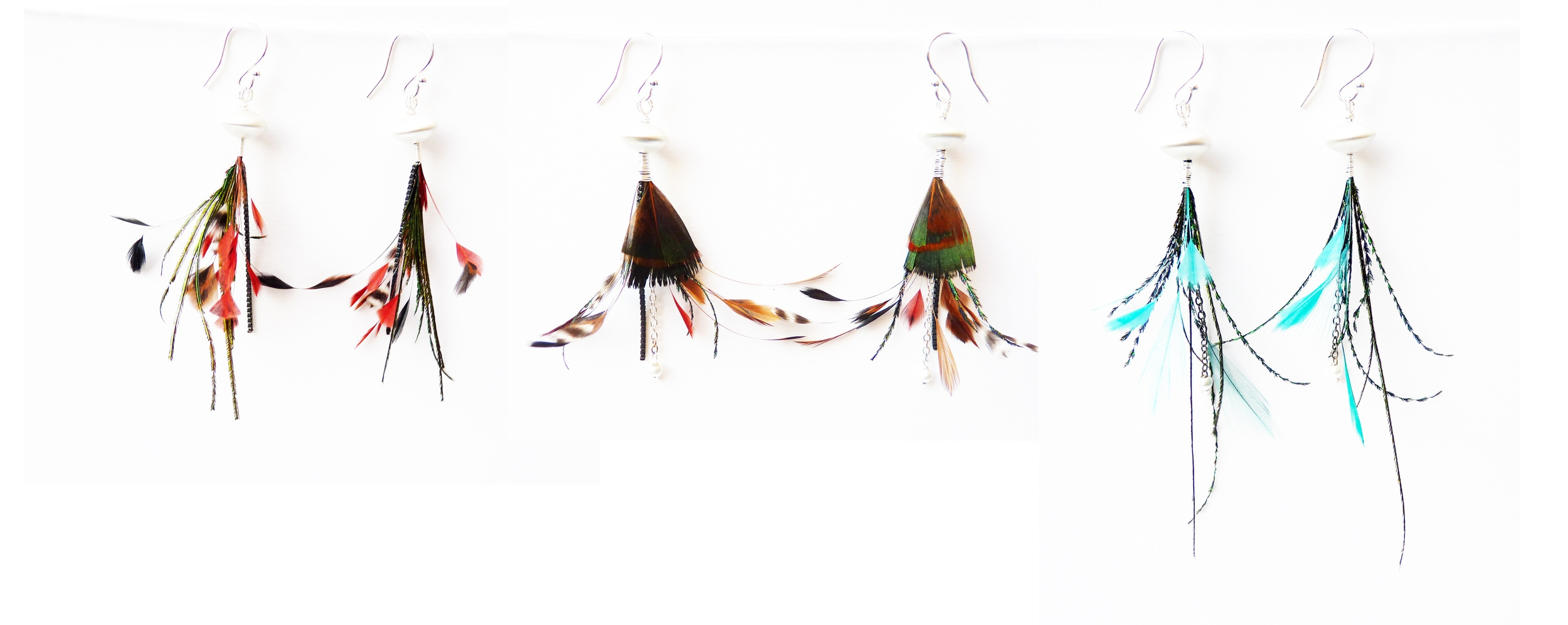 Plume Earrings -  sterling silver, various feathers. 2014